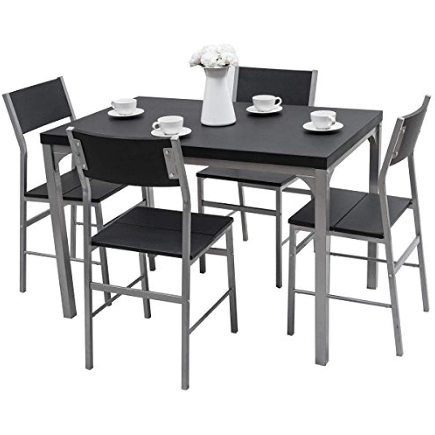 Tangkula Dining Table Set 5 Piece Home Kitchen Dining Room Tempered Regarding Well Known Ephraim 5 Piece Dining Sets (View 3 of 20)