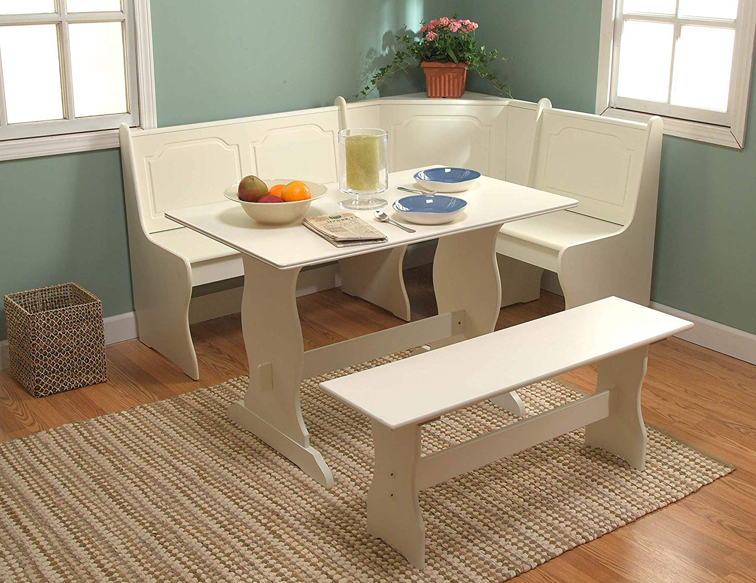 Target Marketing Systems 3 Piece Breakfast Nook Dining Set With A L Shaped  Storage Bench And A Trestle Style Dining Table And Bench, Antique White With Well Known 3 Piece Breakfast Dining Sets (Gallery 19 of 20)