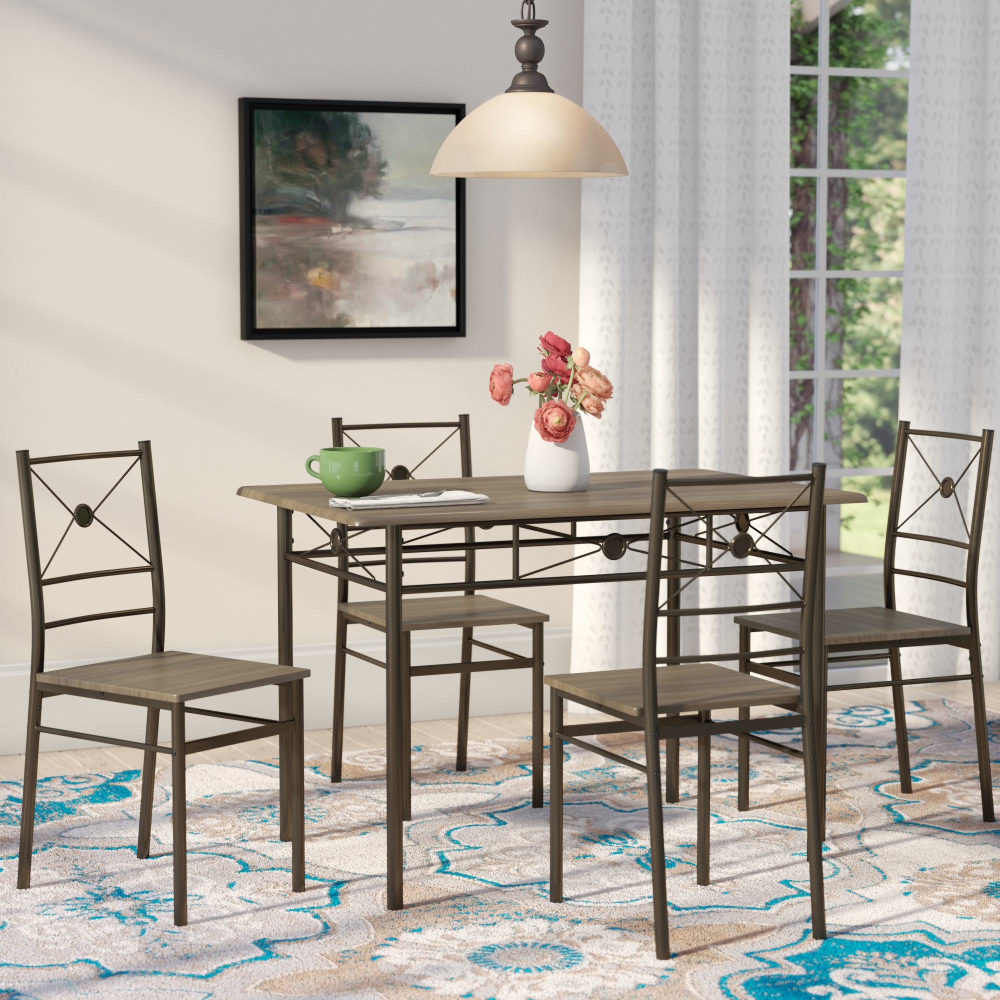 Taulbee 5 Piece Dining Sets Regarding Most Current Andover Mills Kieffer 5 Piece Dining Set & Reviews (View 14 of 20)