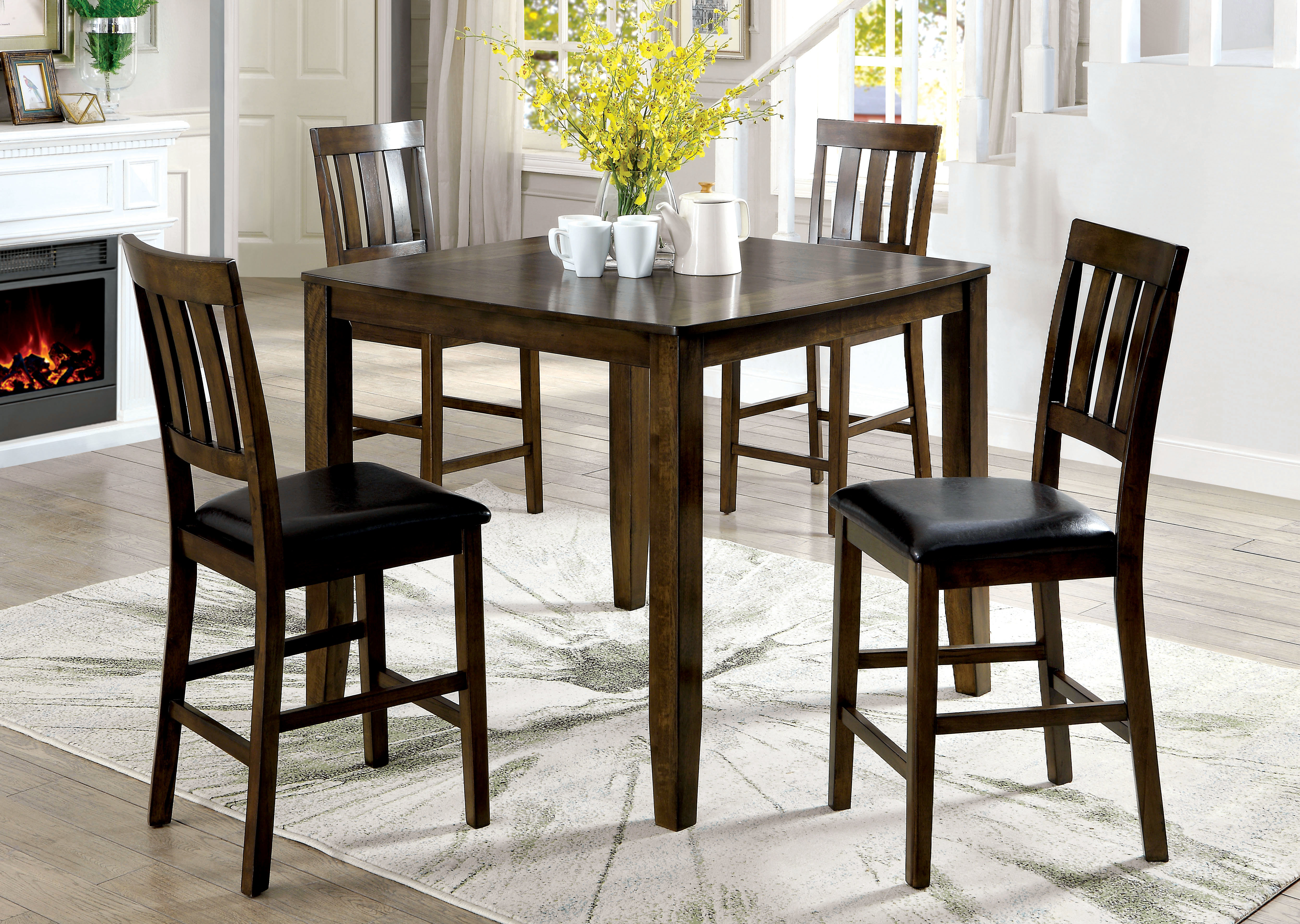 Tavarez 5 Piece Dining Sets With 2017 Guevara Transitional 5 Piece Counter Height Dining Set (Gallery 12 of 20)
