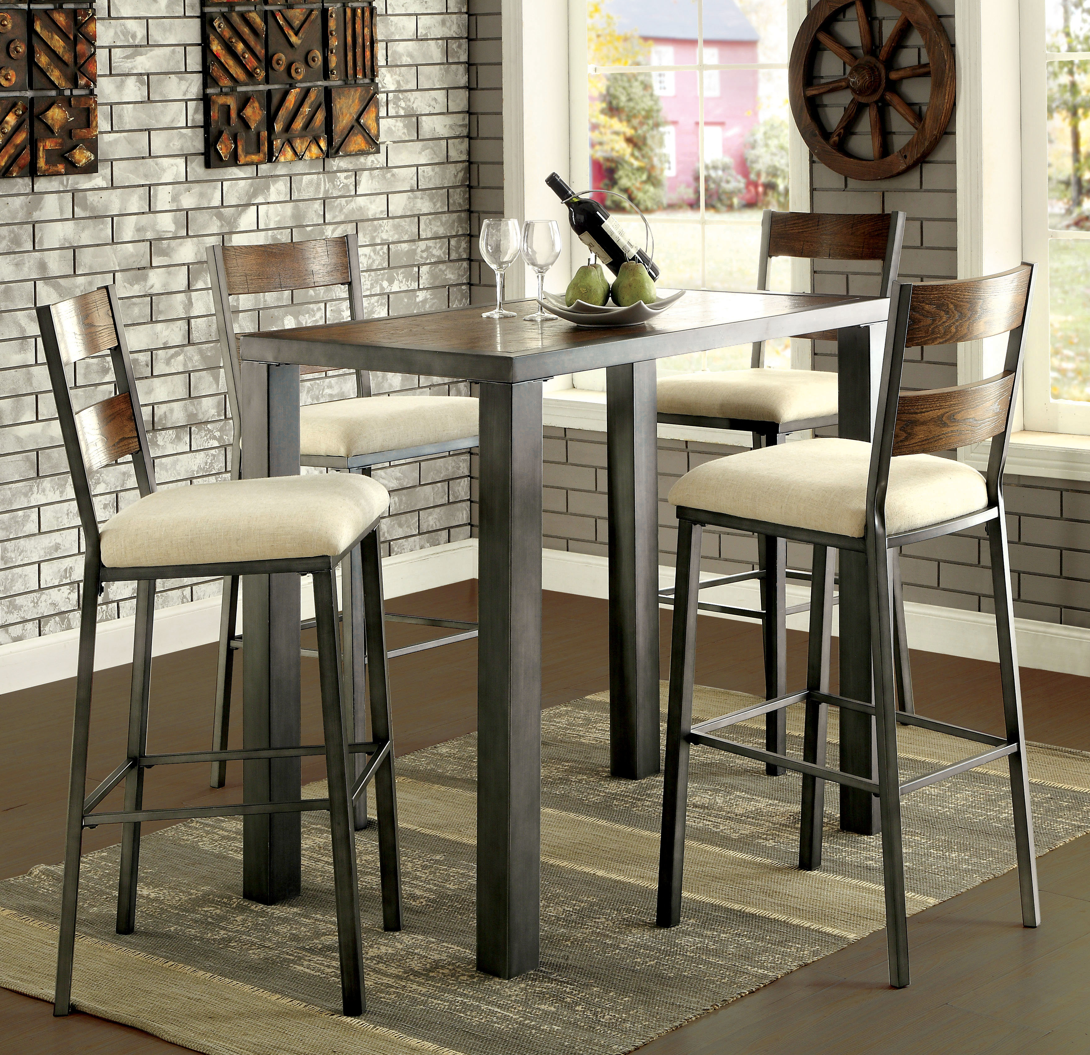 Thurman 5 Piece Pub Table Set Throughout 2017 Biggs 5 Piece Counter Height Solid Wood Dining Sets (Set Of 5) (View 17 of 20)