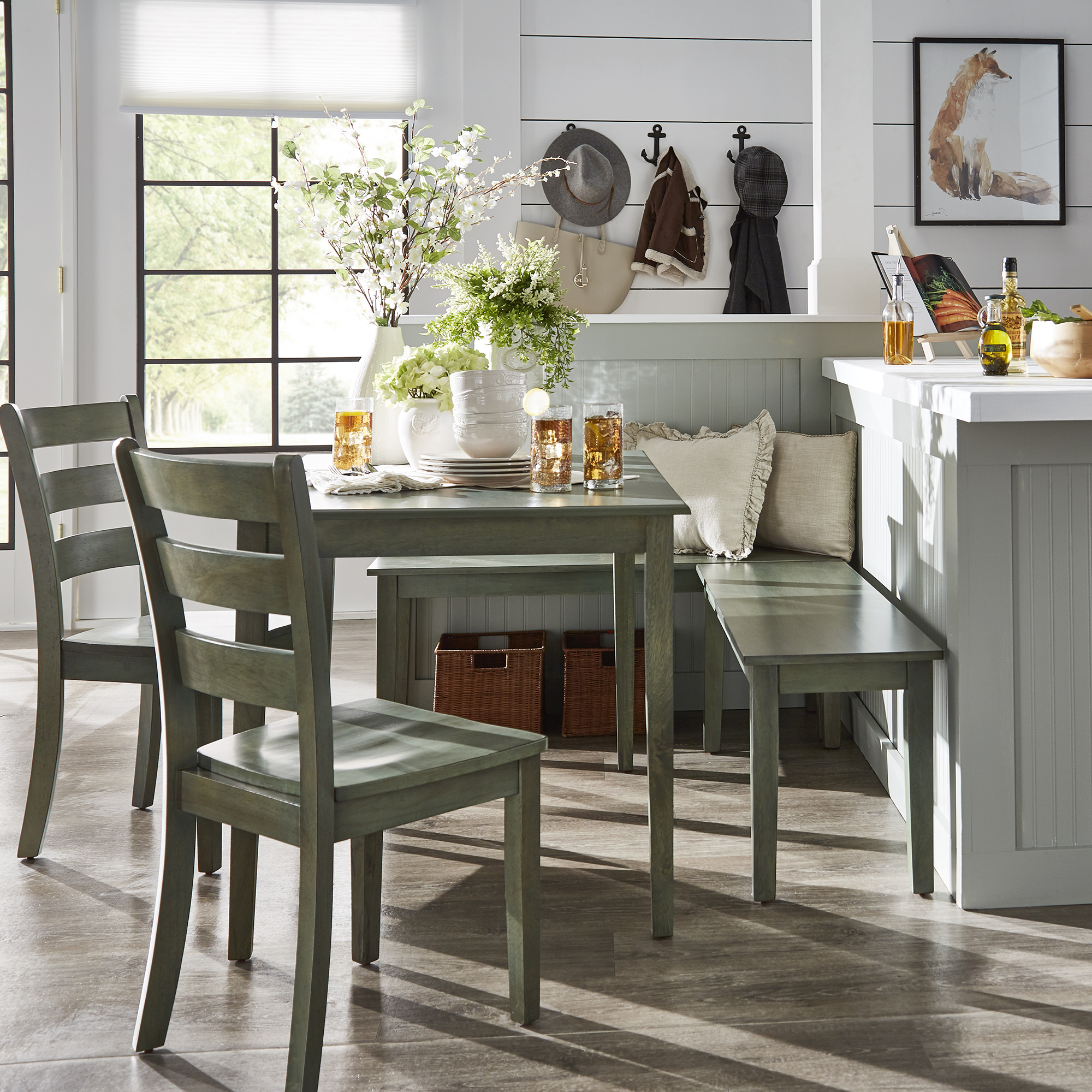 Trendy 5 Piece Breakfast Nook Dining Sets Inside Weston Home Lexington 5 Piece Breakfast Nook Dining Set, Rectangular Table,  Multiple Colors (View 17 of 20)