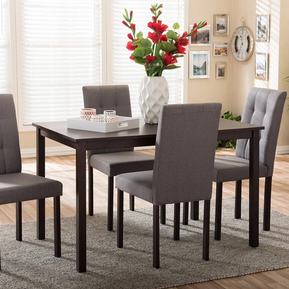 Trendy Andrew 9 Grids 5 Piece Gray Fabric Upholstered Dining Set With 5 Piece Dining Sets (View 11 of 20)