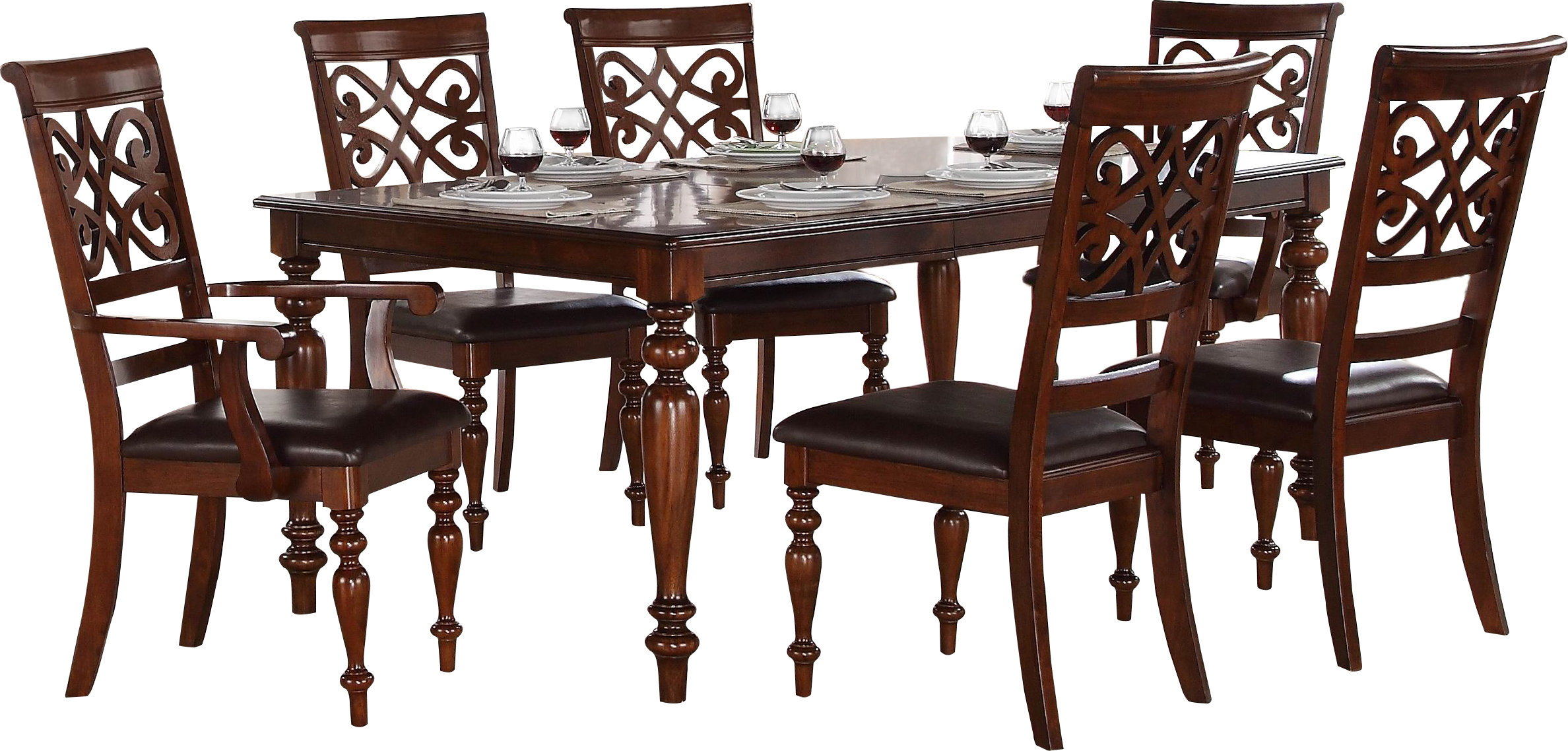 Trendy Laconia 7 Pieces Solid Wood Dining Sets (set Of 7) For Leith 7 Piece Dining Set (View 20 of 20)