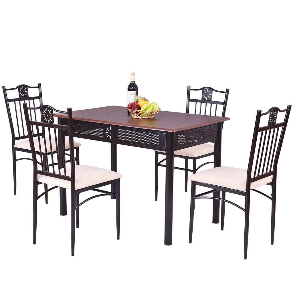 Trendy Stouferberg 5 Piece Dining Sets Intended For 5 Pcs Dining Set Wood Metal Table And 4 Chairs With Cushions In 2019 (Gallery 5 of 20)
