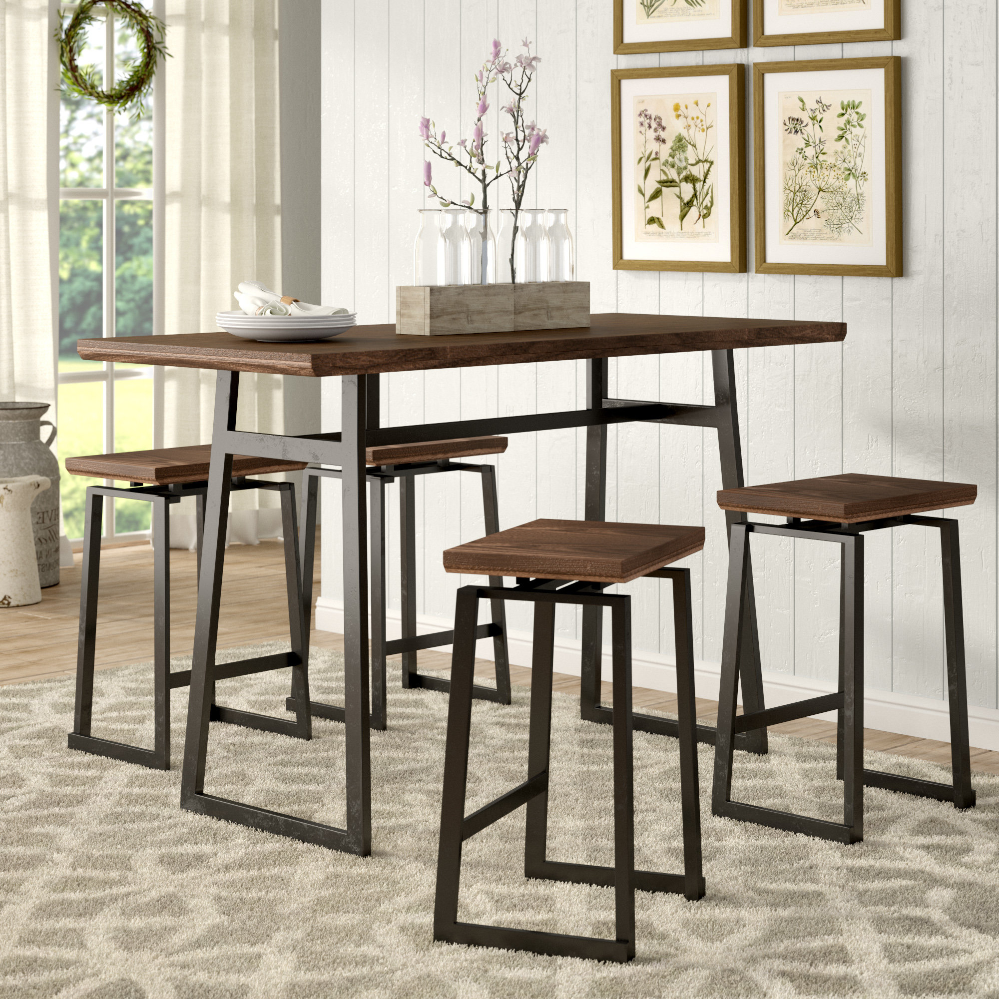 Trendy Winsted 4 Piece Counter Height Dining Sets Within Cassiopeia Industrial 5 Piece Counter Height Dining Set (Gallery 12 of 20)