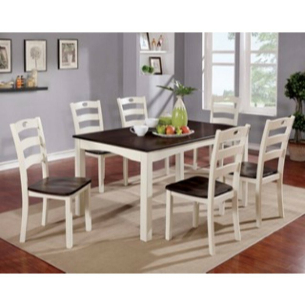 Valladares 3 Piece Pub Table Sets Pertaining To 2018 Valladares 7 Piece Solid Wood Dining Set (View 9 of 20)
