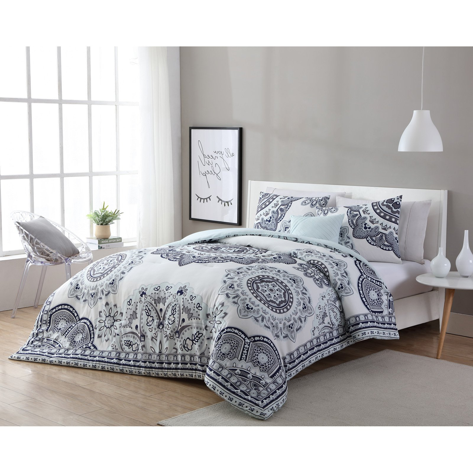 Vcny Home Grey/mint Kaya 3/4 Piece Comforter Bedding Set, Shams Included For Popular Kaya 3 Piece Dining Sets (View 19 of 20)