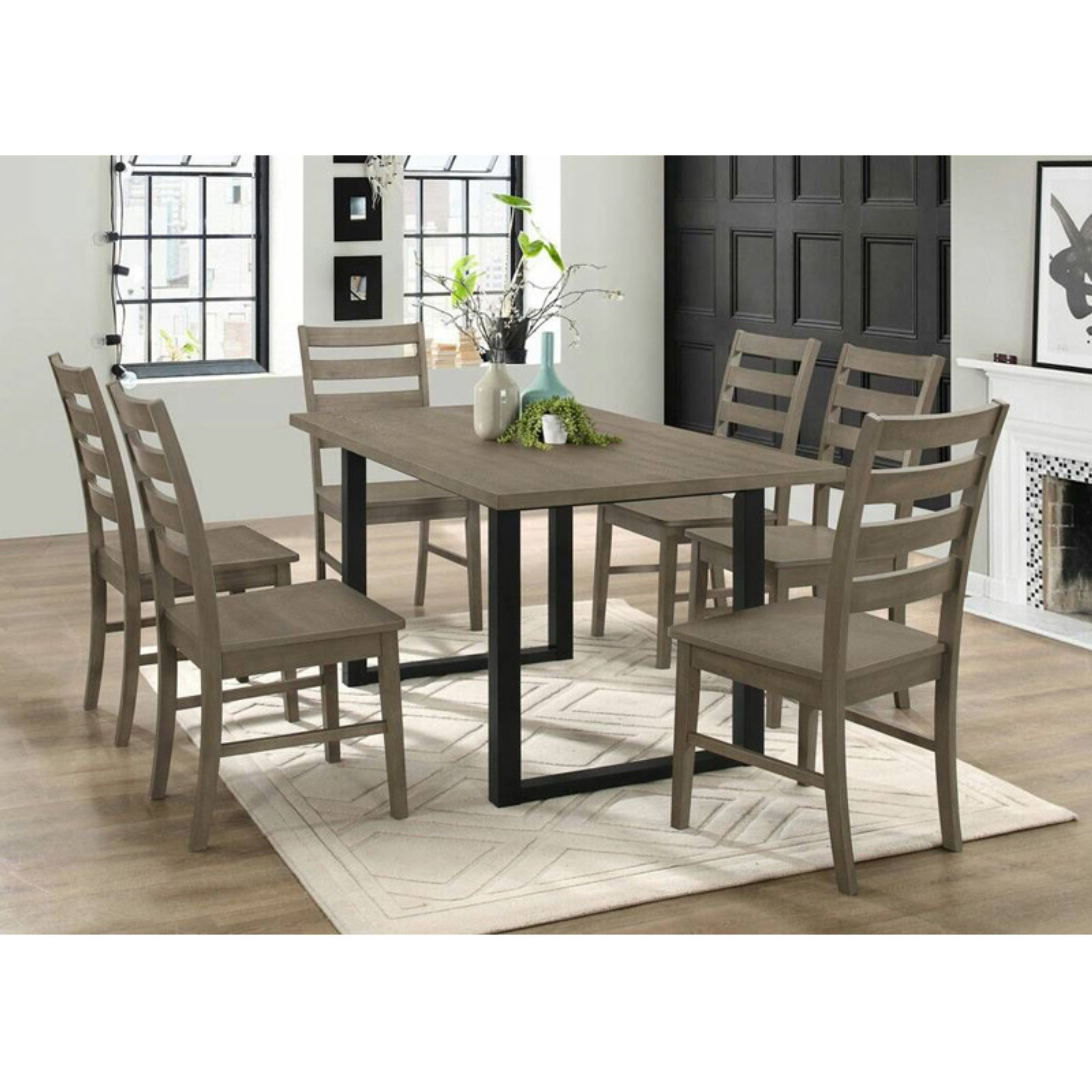 Walker Edison Modern 7 Piece Dining Table Set Grey In 2019 Throughout Best And Newest Kieffer 5 Piece Dining Sets (View 16 of 20)