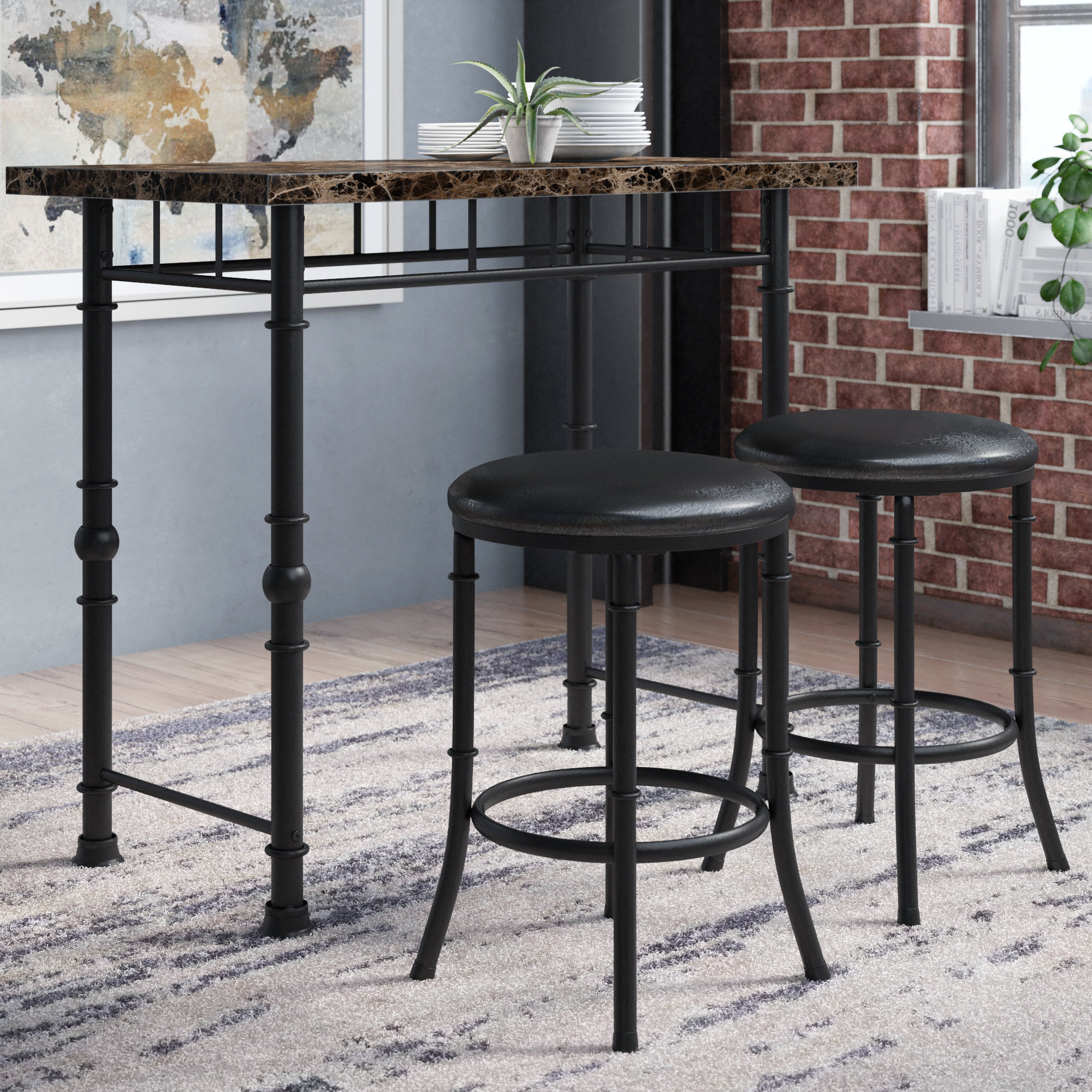 Wallflower 3 Piece Dining Sets Intended For Well Known Giles 3 Piece Dining Set (View 15 of 20)