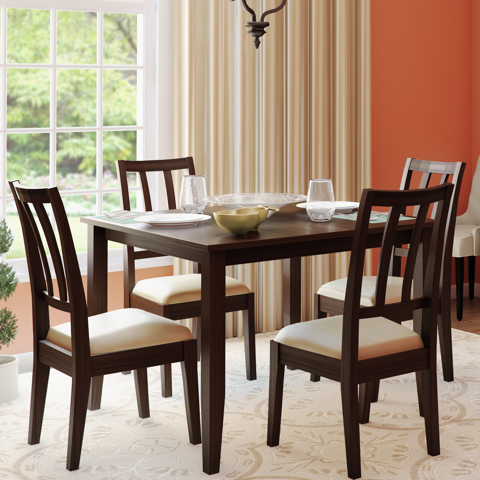 Wayfair Inside Rarick 5 Piece Solid Wood Dining Sets (Set Of 5) (View 18 of 20)