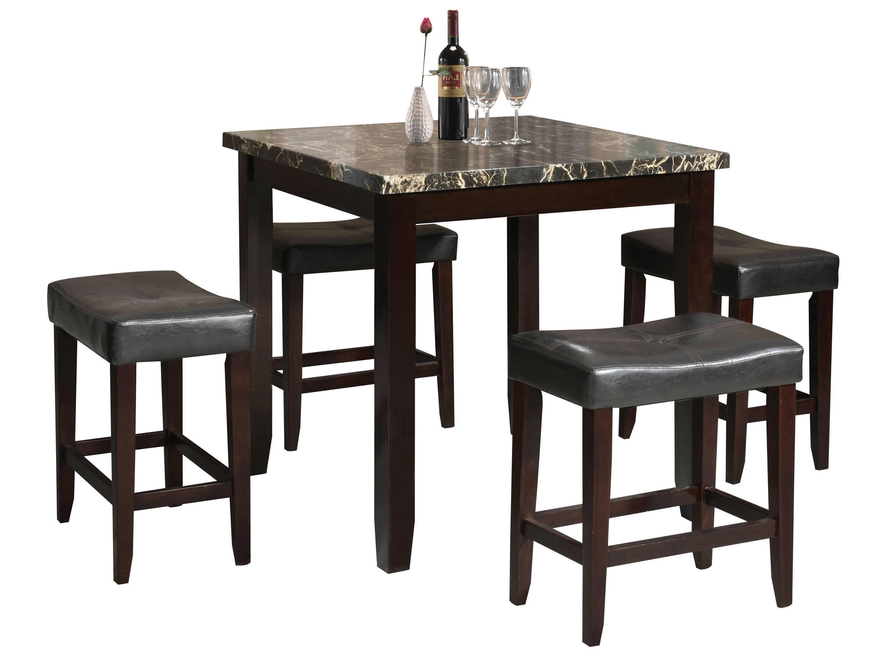Well Known Dehaven 5 Piece Counter Height Dining Set Inside Tenney 3 Piece Counter Height Dining Sets (View 18 of 20)