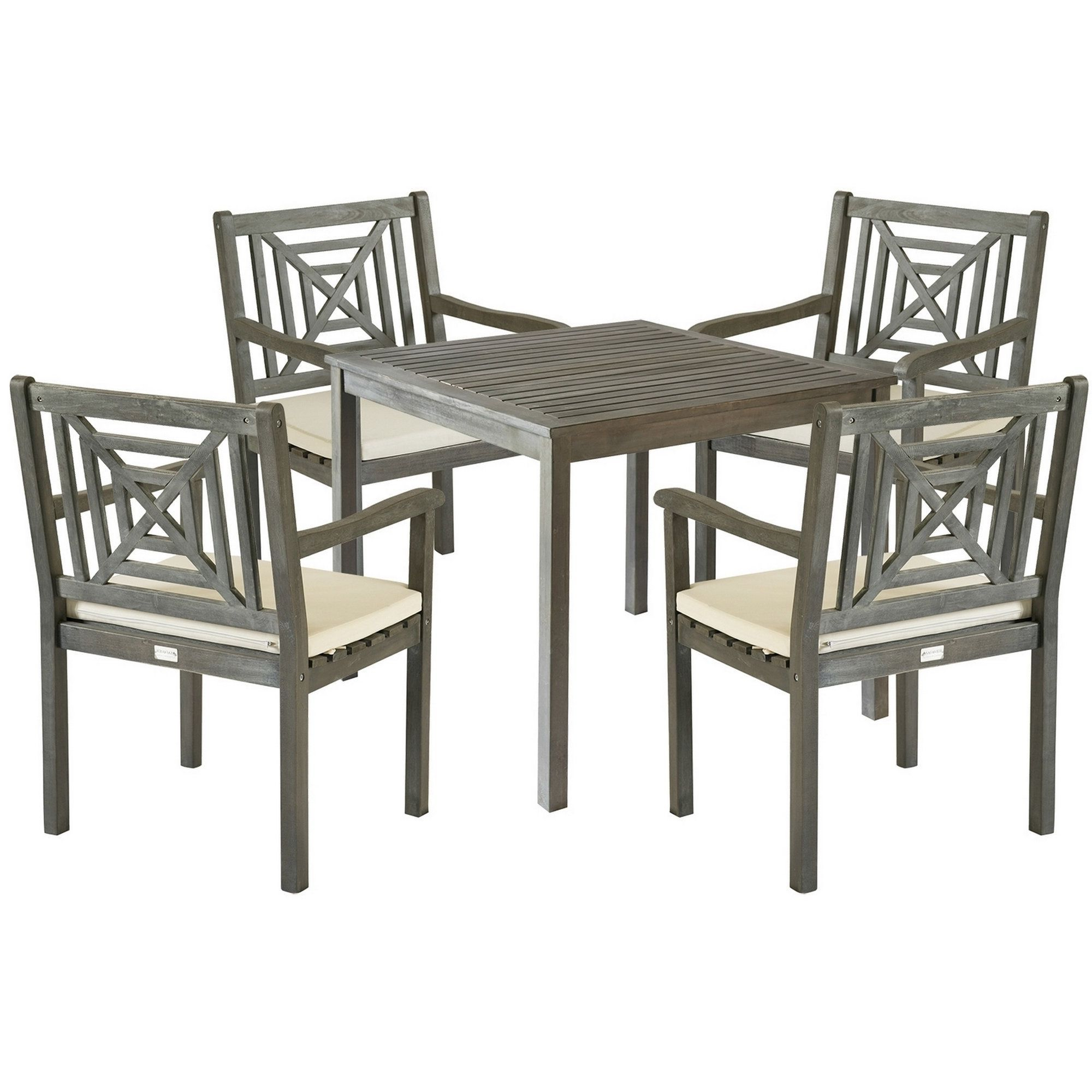 Well Known Delmar 5 Piece Dining Sets Pertaining To Safavieh Outdoor Living Del Mar Ash Grey Acacia Wood 5 Piece Beige (View 15 of 20)