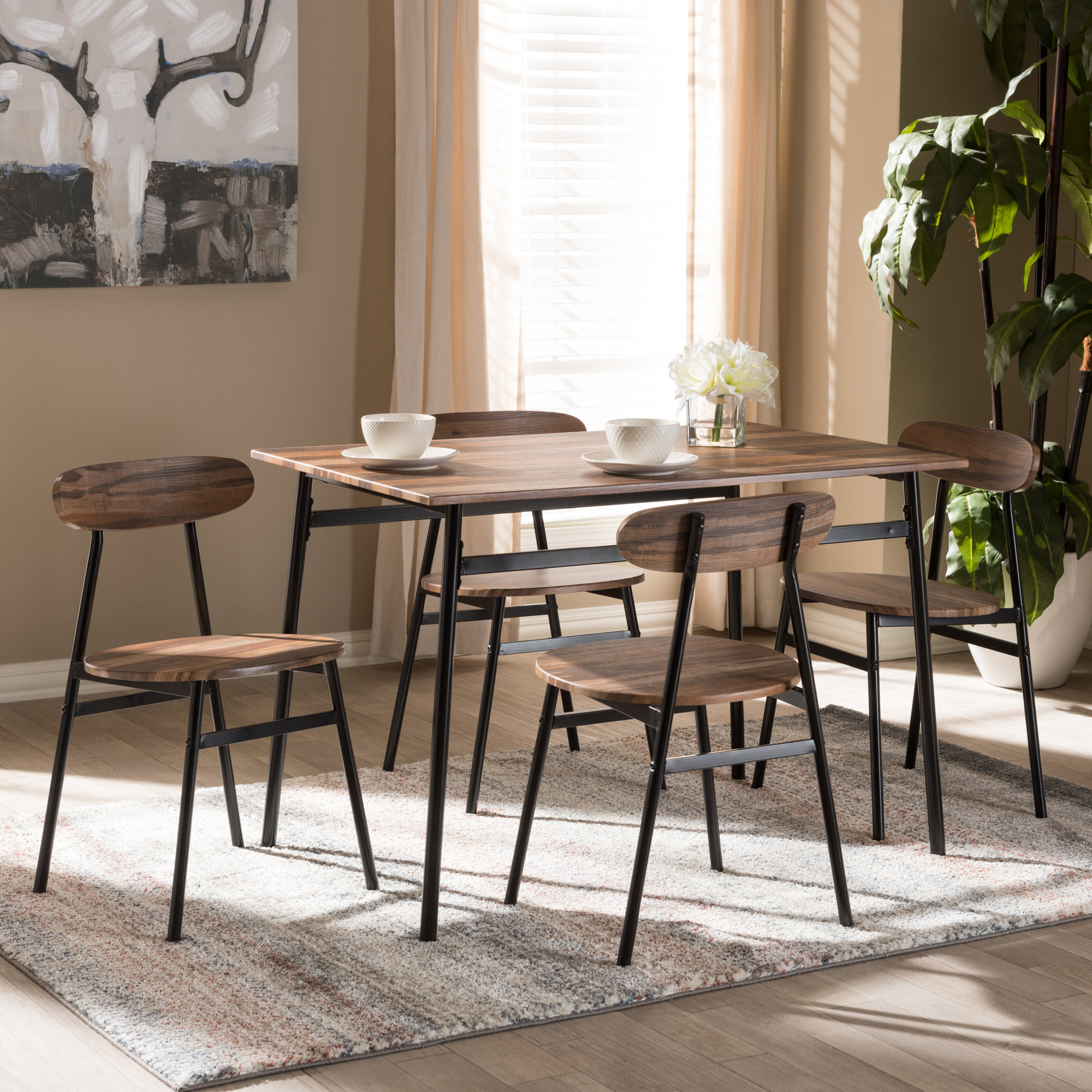 Well Known Details About Union Rustic Telauges 5 Piece Dining Set Regarding Telauges 5 Piece Dining Sets (View 3 of 20)