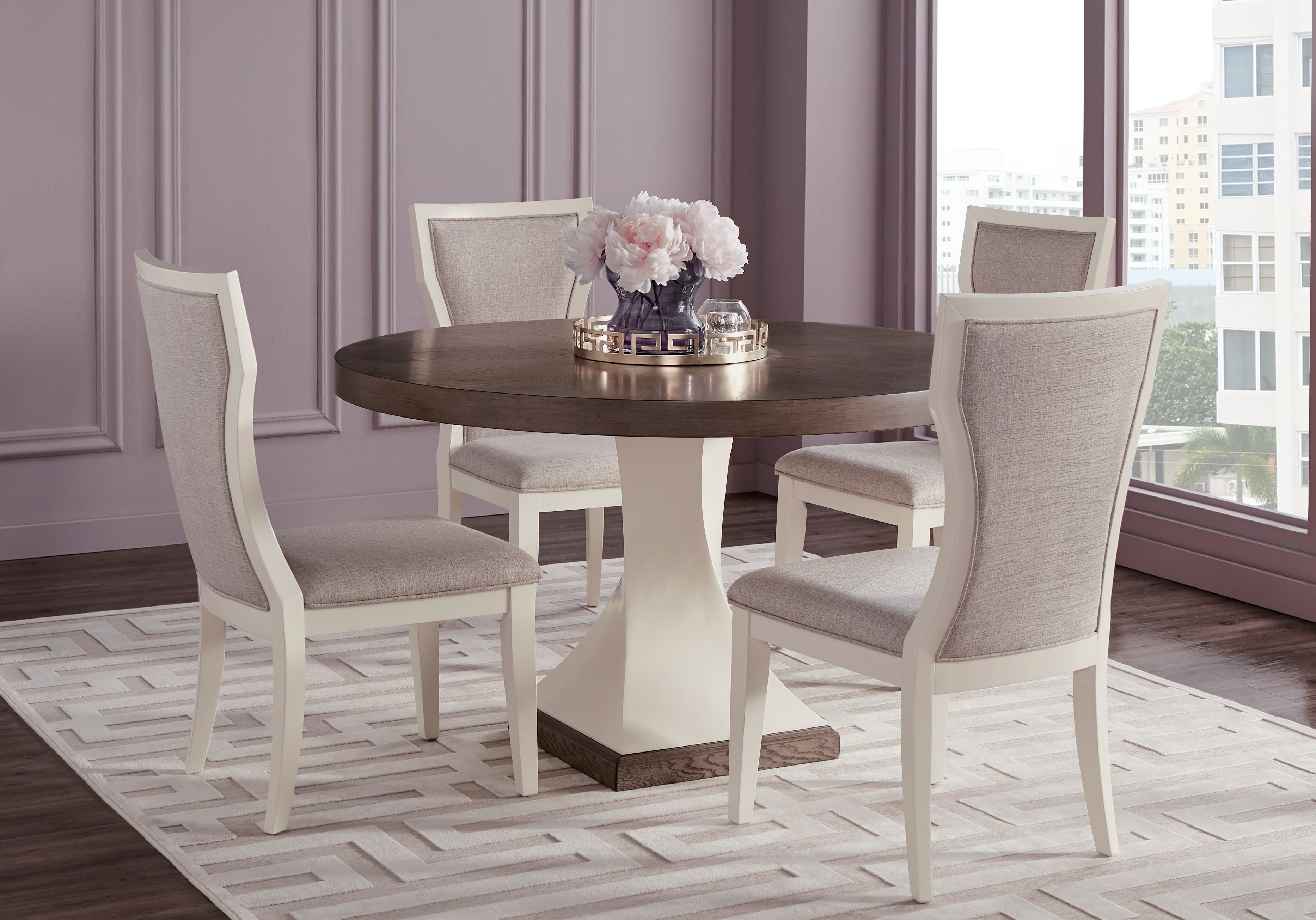 Well Known Lamotte 5 Piece Dining Sets Inside Sofia Vergara Santa Fiora White 5 Pc Round Dining Room In (View 8 of 20)