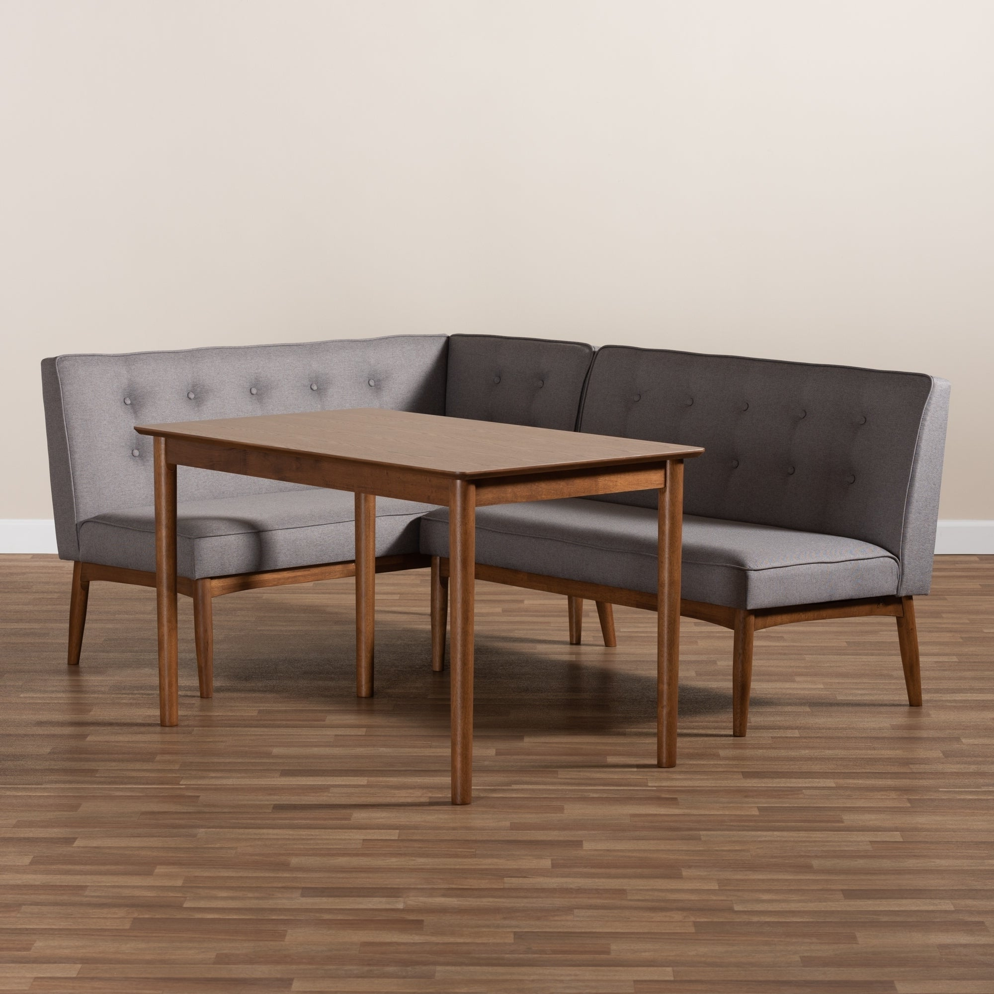 Well Known Maloney 3 Piece Breakfast Nook Dining Sets Regarding Mid Century Gray Fabric 3 Piece Dining Nook Set (View 6 of 20)