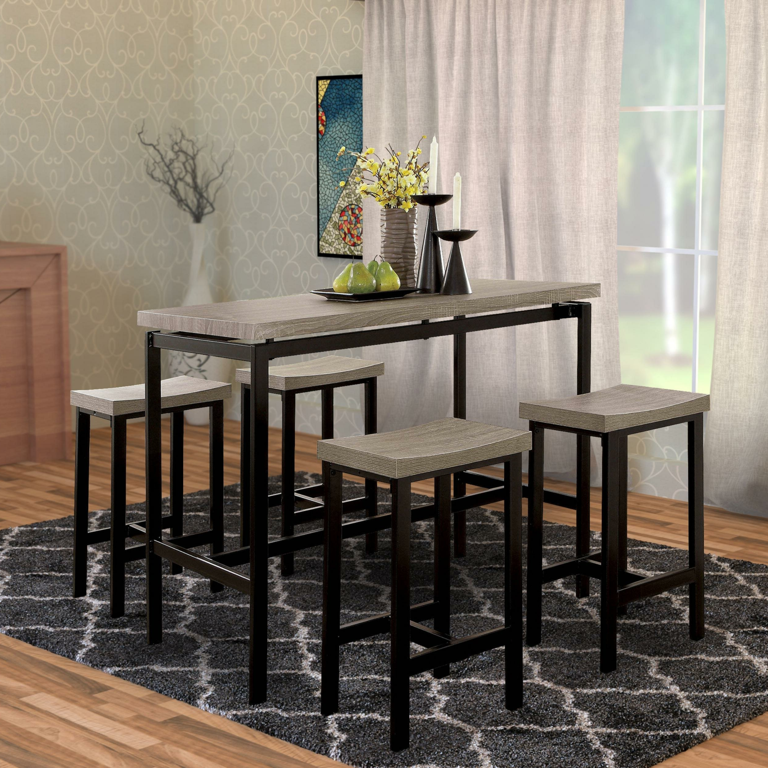 Well Known Mounce Wooden 5 Piece Pub Table Set Throughout Hanska Wooden 5 Piece Counter Height Dining Table Sets (Set Of 5) (View 19 of 20)