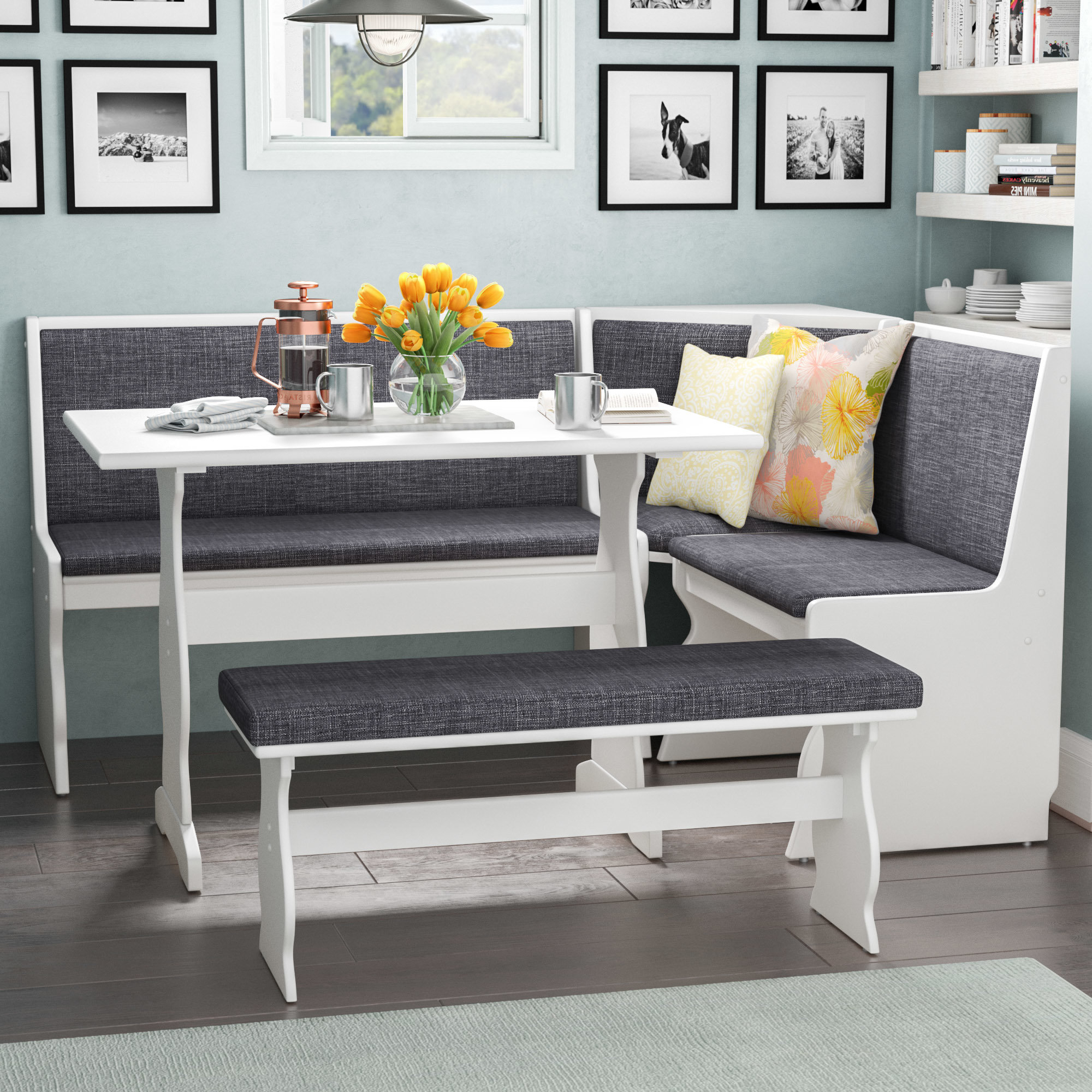 Well Known Olivia 3 Piece Breakfast Nook Dining Set Inside 3 Piece Breakfast Nook Dinning Set (View 2 of 20)