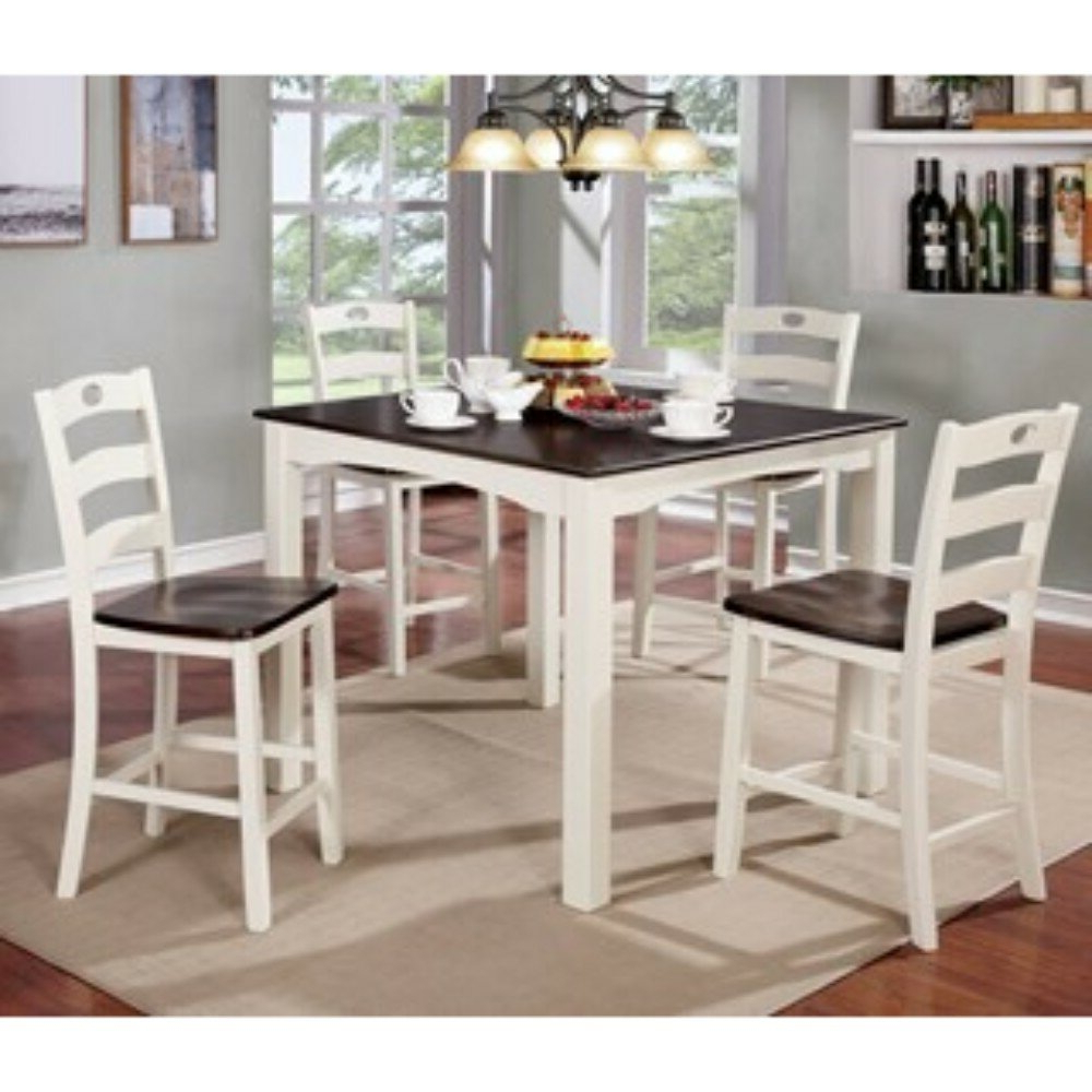 Well Known Valladares 5 Piece Solid Wood Dining Set Inside Valladares 3 Piece Pub Table Sets (View 5 of 20)