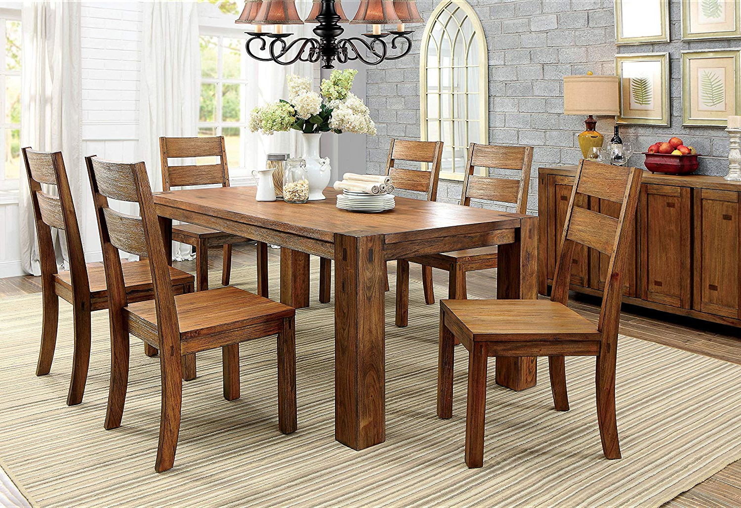 Well Liked Amazon – Furniture Of America Maynard 7 Piece Wooden Dining Set For Maynard 5 Piece Dining Sets (View 9 of 20)