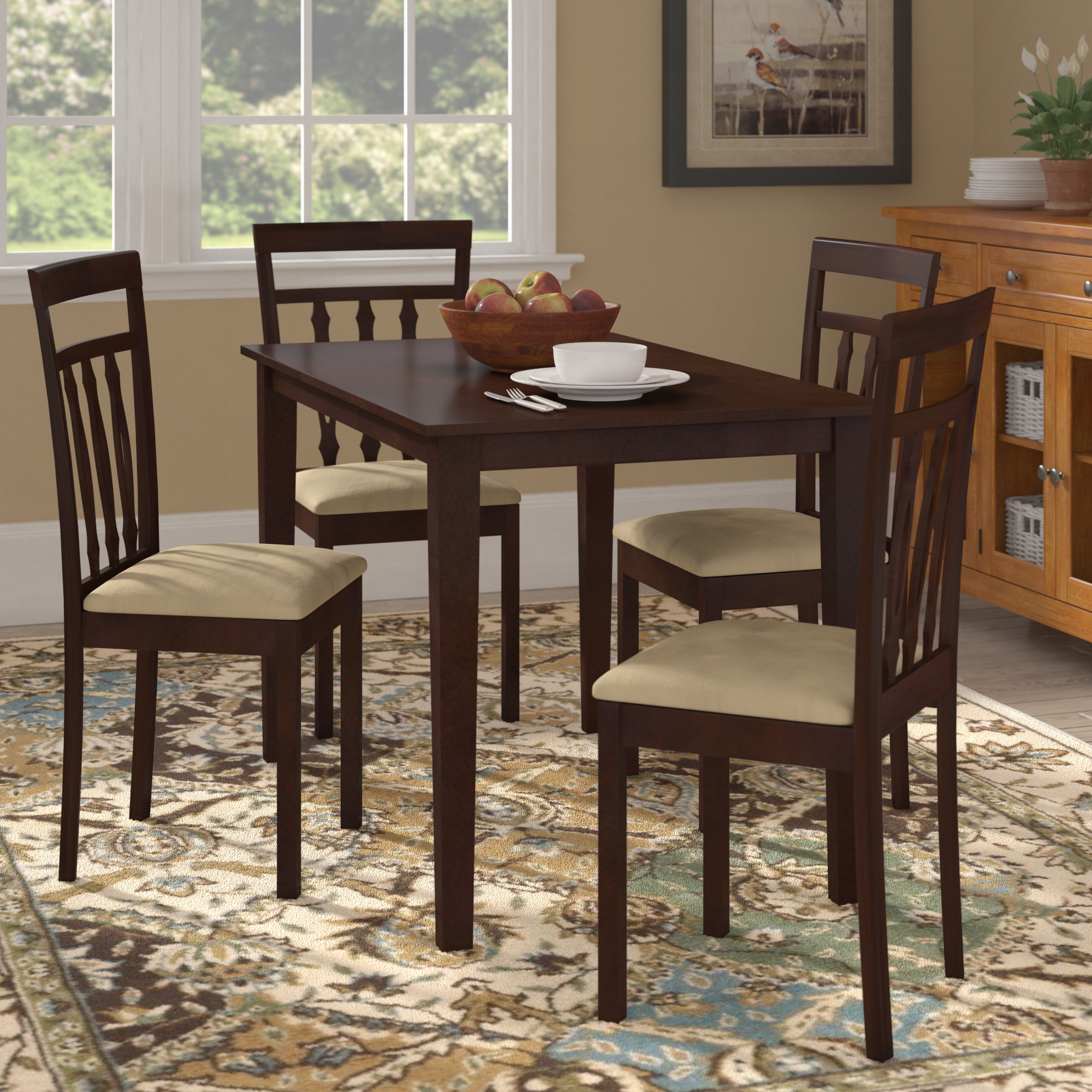 Well Liked Baillie 3 Piece Dining Sets Within Vivien 5 Piece Dining Set (View 19 of 20)