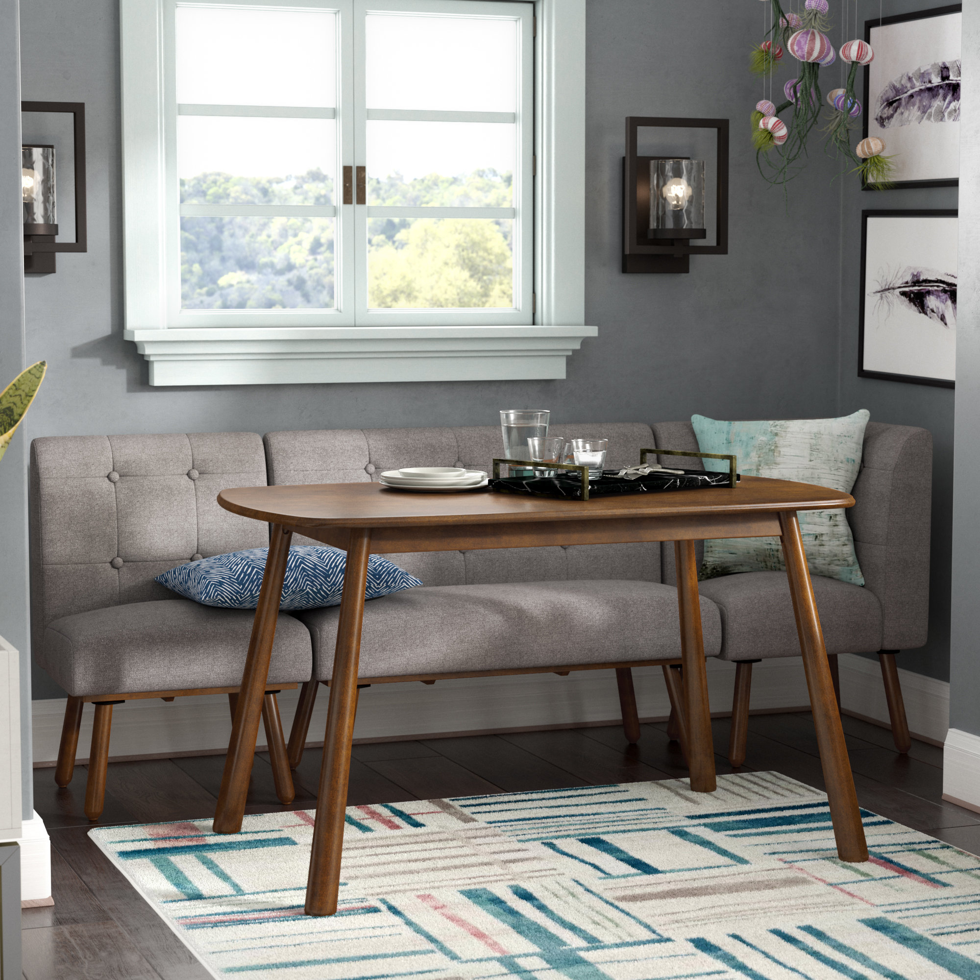Well Liked Bucci 4 Piece Breakfast Nook Dining Set Throughout Liles 5 Piece Breakfast Nook Dining Sets (View 19 of 20)