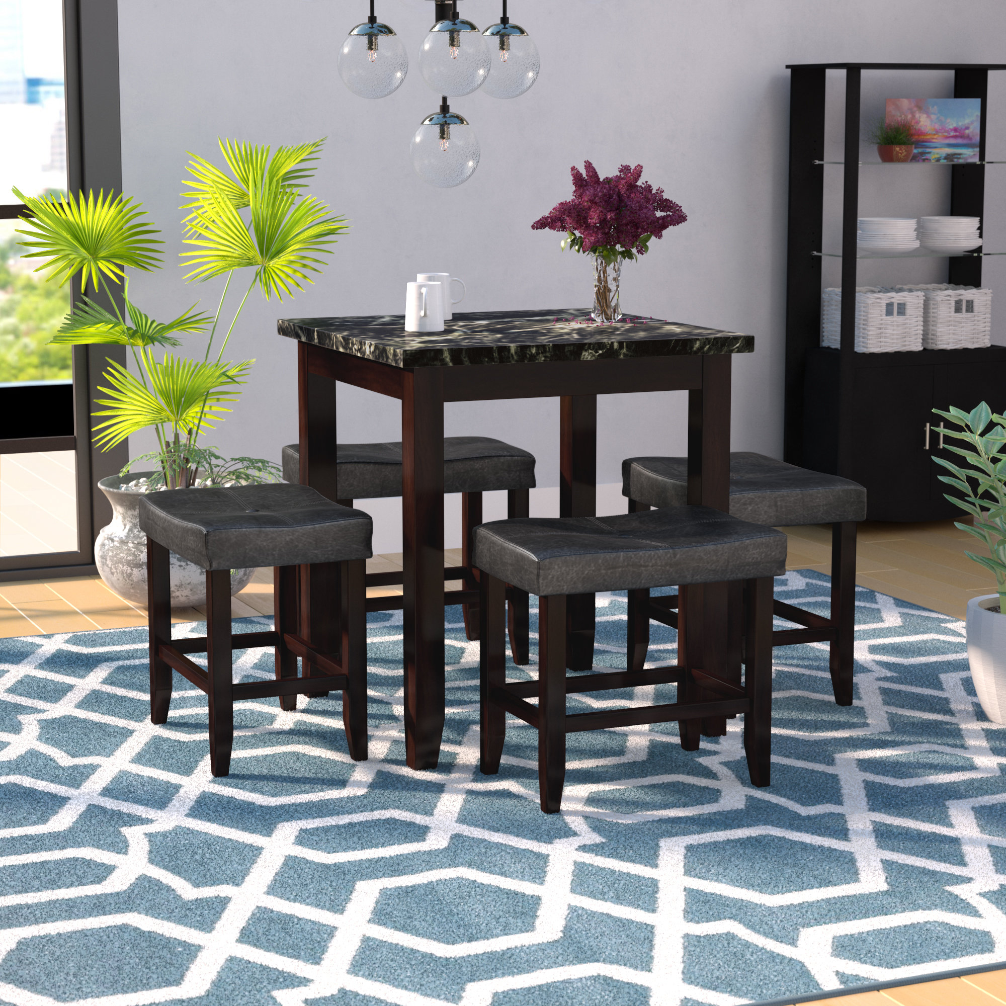Well Liked Dehaven 5 Piece Counter Height Dining Set Within Miskell 3 Piece Dining Sets (View 19 of 20)