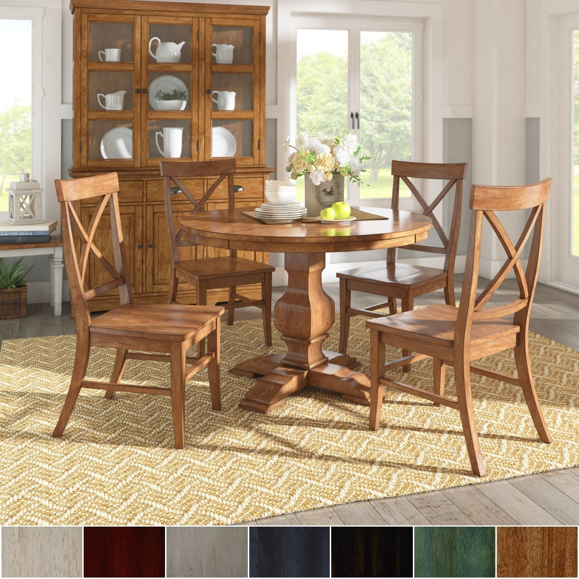 Well Liked Ephraim 5 Piece Dining Sets For Eleanor Oak Finish Wood 5 Piece Round Table X Back Chairs Dining Set (View 16 of 20)