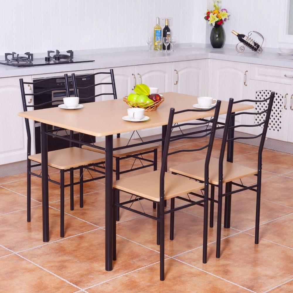 Well Liked Goplus 5 Pieces Dining Table Set 1 Wooden Dining Table With 4 Dinig With Regard To Conover 5 Piece Dining Sets (View 18 of 20)