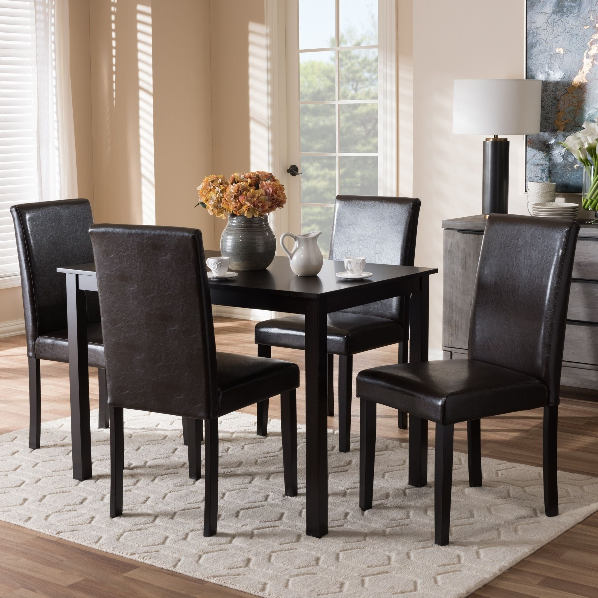 Well Liked Maynard 5 Piece Dining Sets For Contemporary Brown Faux Leather 5 Piece Dining Setbaxton Studio (View 16 of 20)