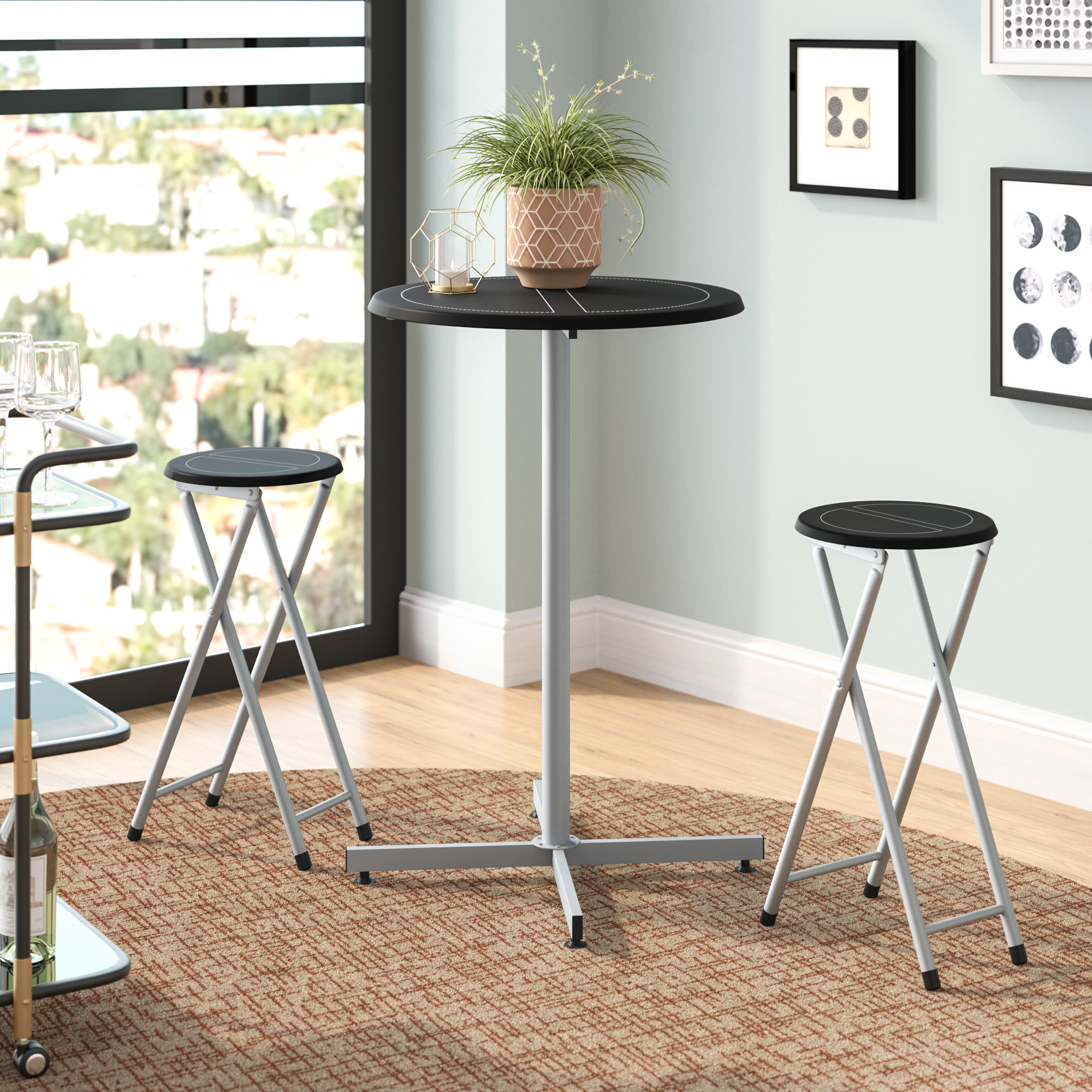 """Well Liked Palma 3 Piece 38"""" Pub Table & Stool Set Intended For Honoria 3 Piece Dining Sets (View 9 of 20)"""