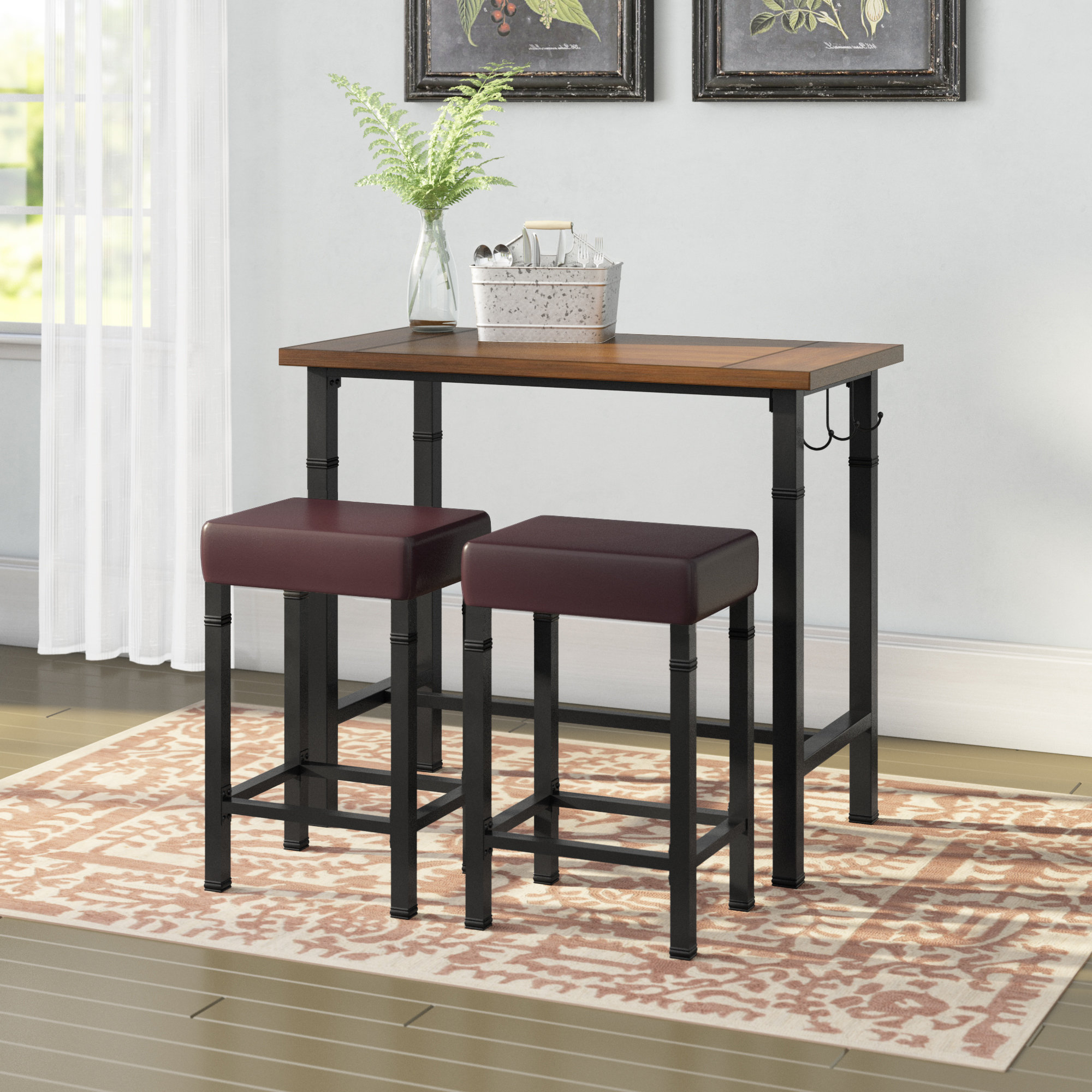 Well Liked Sevigny 3 Piece Pub Table Set Within Tenney 3 Piece Counter Height Dining Sets (View 13 of 20)