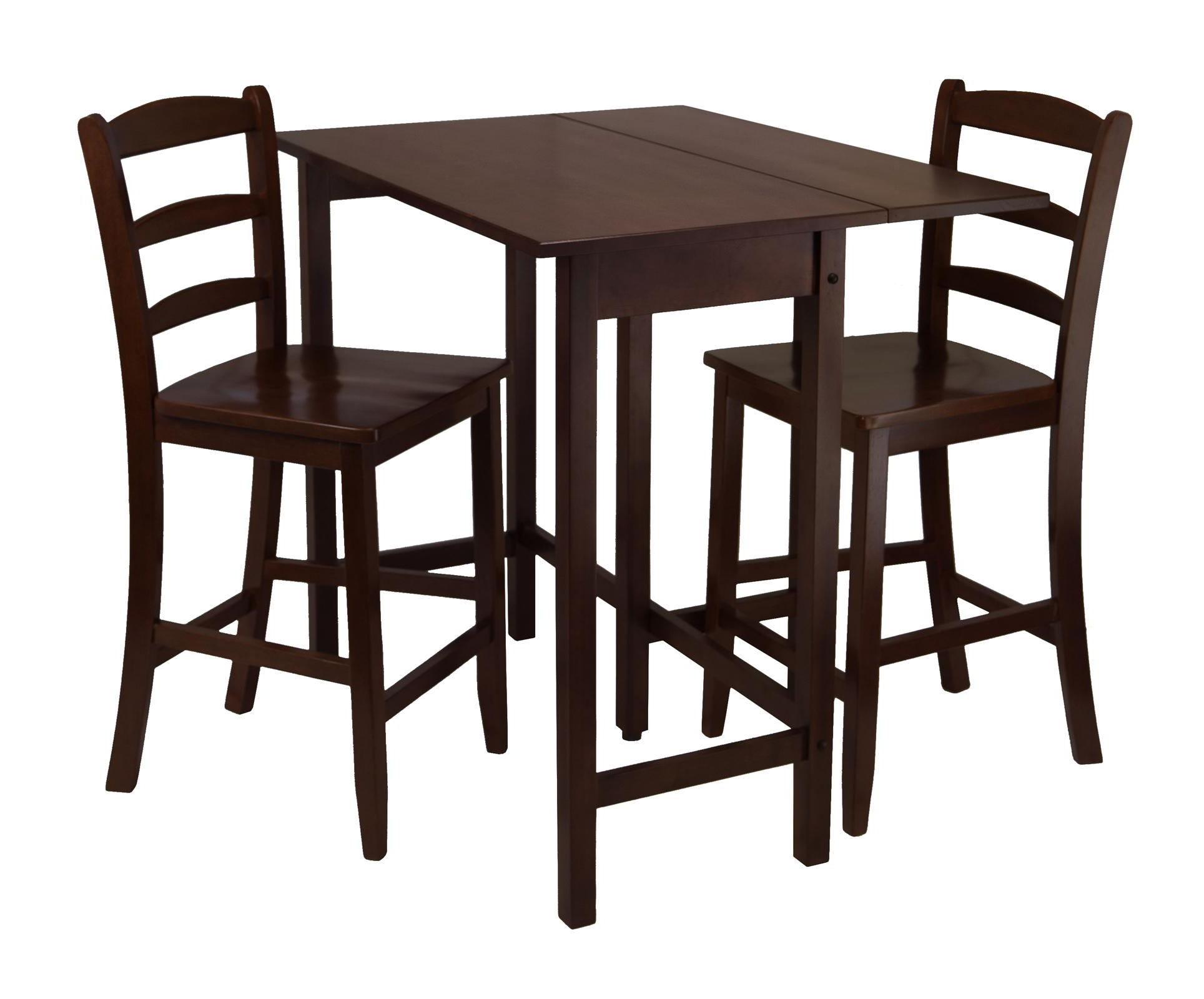 Well Liked Winsome Lynnwood 3Pc Drop Leaf High Table With 2 Counter Regarding Winsome 3 Piece Counter Height Dining Sets (View 8 of 20)
