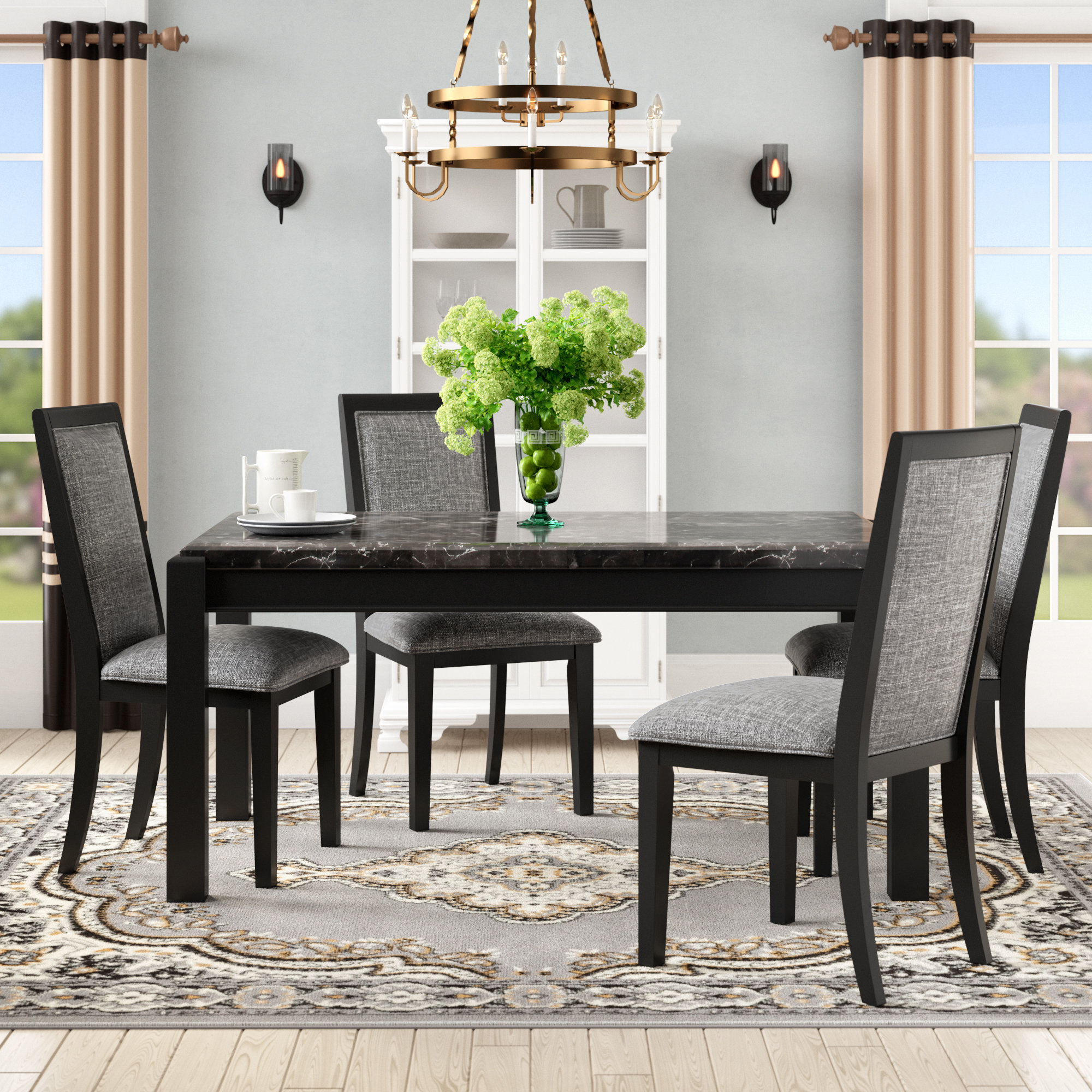 Well Liked Wozniak 5 Piece Solid Wood Dining Set Inside Isolde 3 Piece Dining Sets (View 19 of 20)