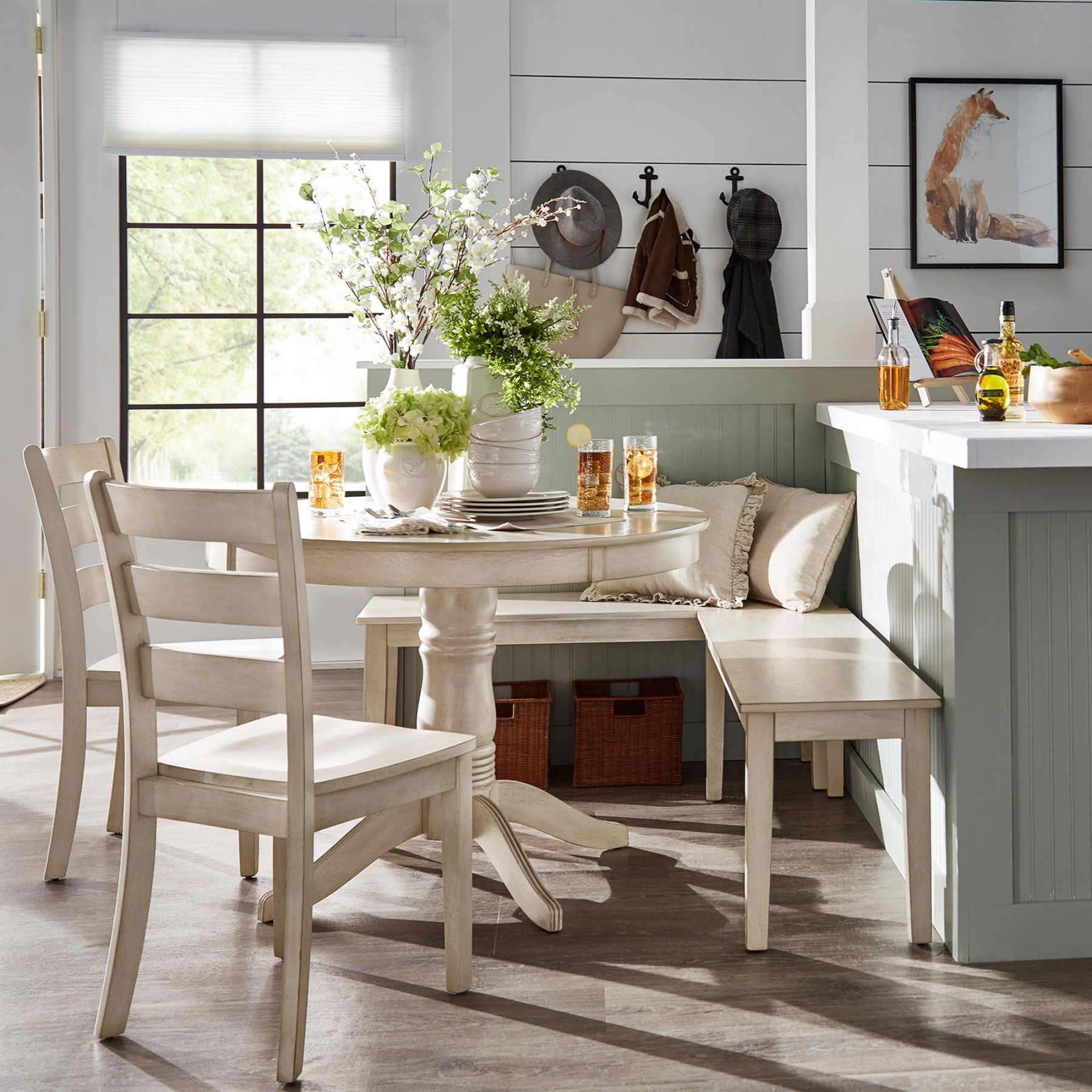 Weston Home Lexington 5 Piece Breakfast Nook Round Dining Set With Regard To Widely Used 5 Piece Breakfast Nook Dining Sets (View 12 of 20)
