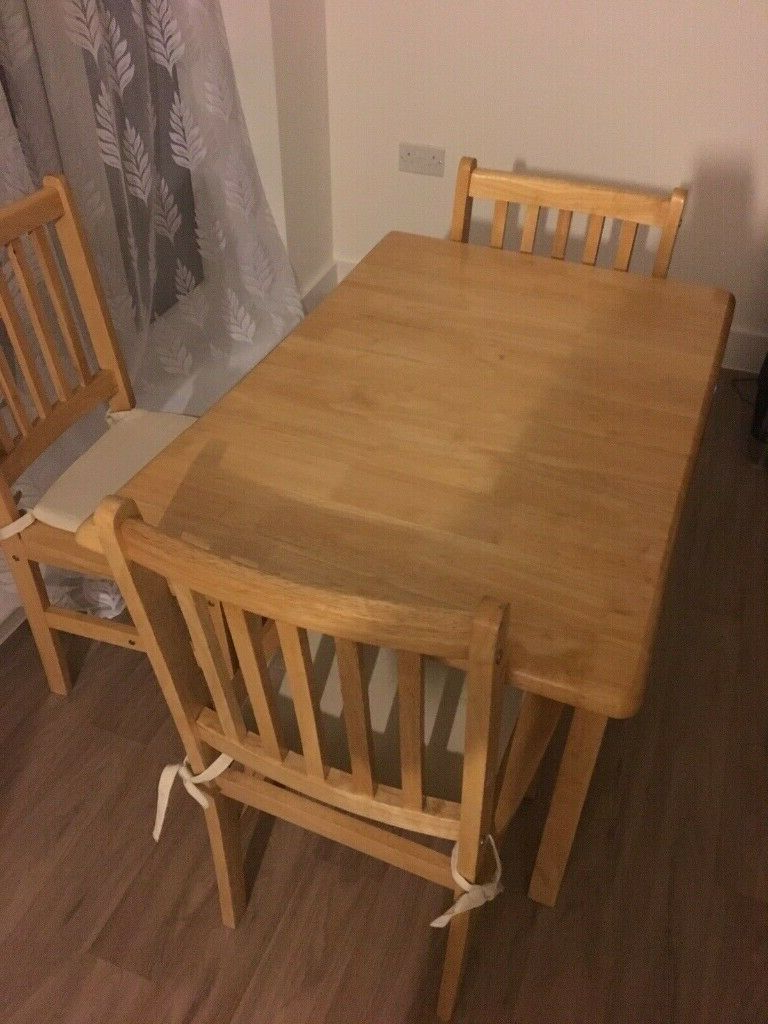 Widely Used A Solid Pine 4 Seater Dining Table With 3 Matching Chairs In Good Used  Condition Free Local Delivery (View 20 of 20)