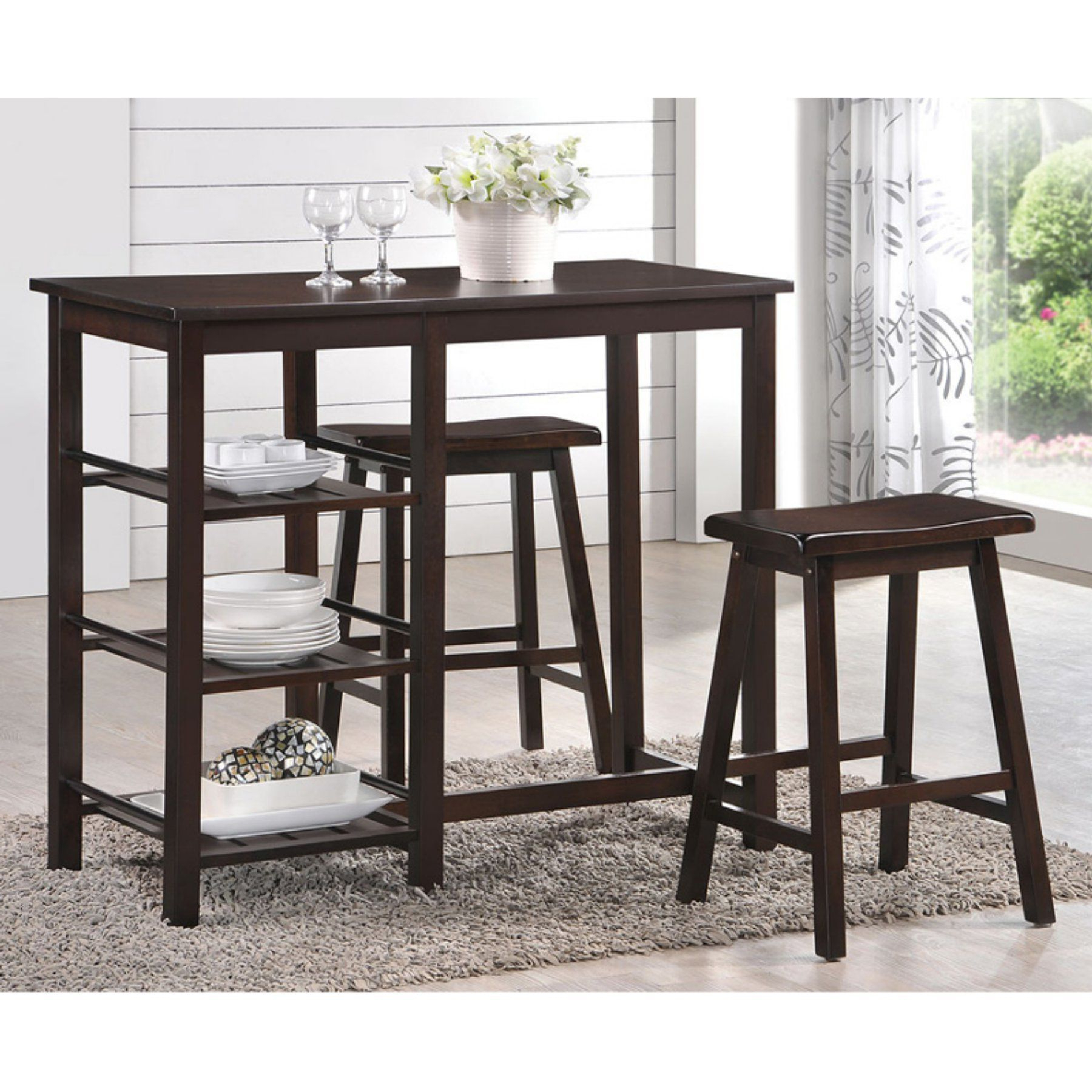Widely Used Acme Furniture Nyssa 3 Piece Rectangular Counter Height Dining Table With Debby Small Space 3 Piece Dining Sets (View 5 of 20)