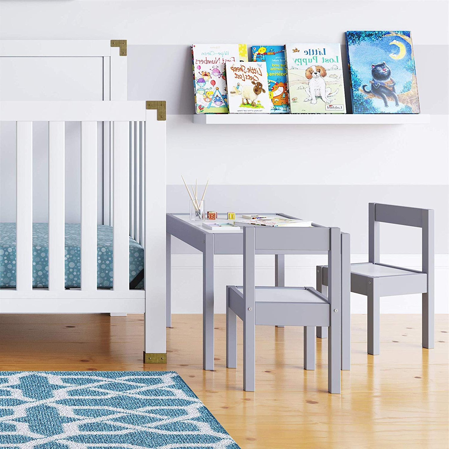 Widely Used Baby Relax Hunter 3 Piece Kiddy Table And Chair Set, Gray Throughout Springfield 3 Piece Dining Sets (View 13 of 20)