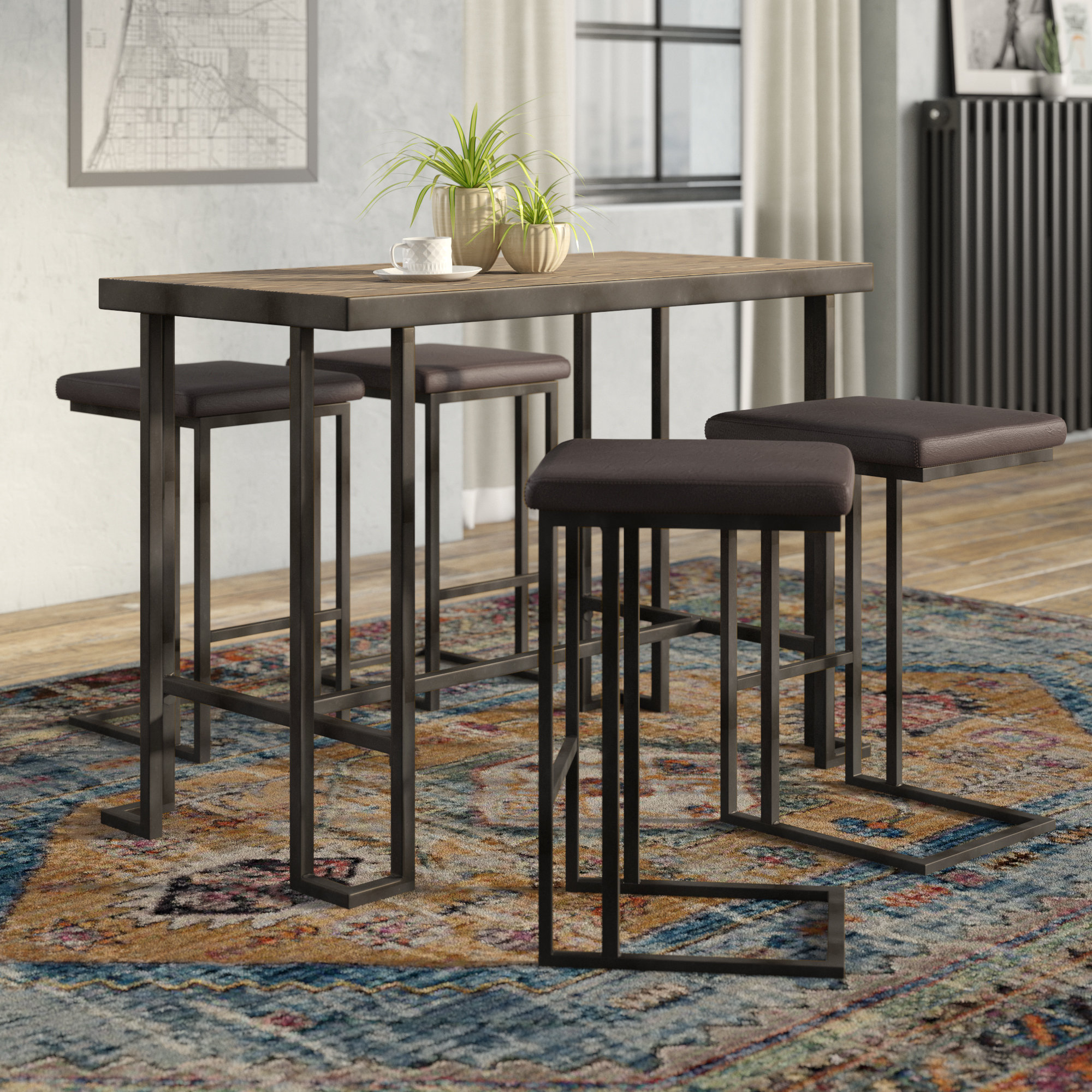 Widely Used Calistoga 5 Piece Counter Height Pub Table Set Within Anette 3 Piece Counter Height Dining Sets (View 9 of 20)