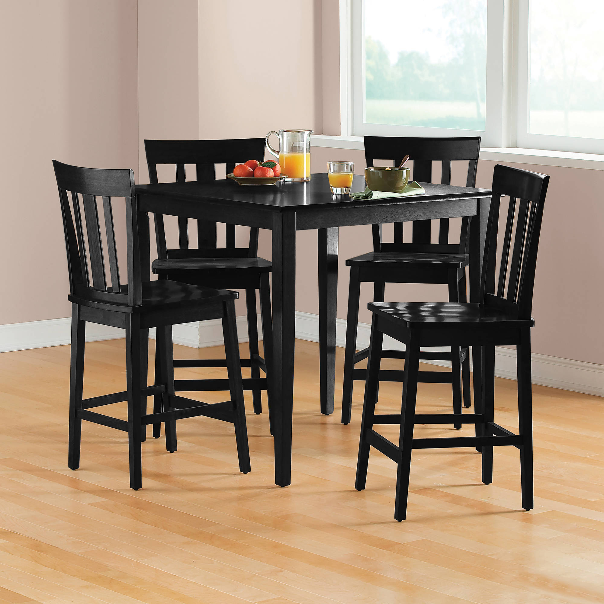 Widely Used Goodman 5 Piece Solid Wood Dining Sets (Set Of 5) Regarding Mainstays 5 Piece Mission Counter Height Dining Set – Walmart (View 19 of 20)