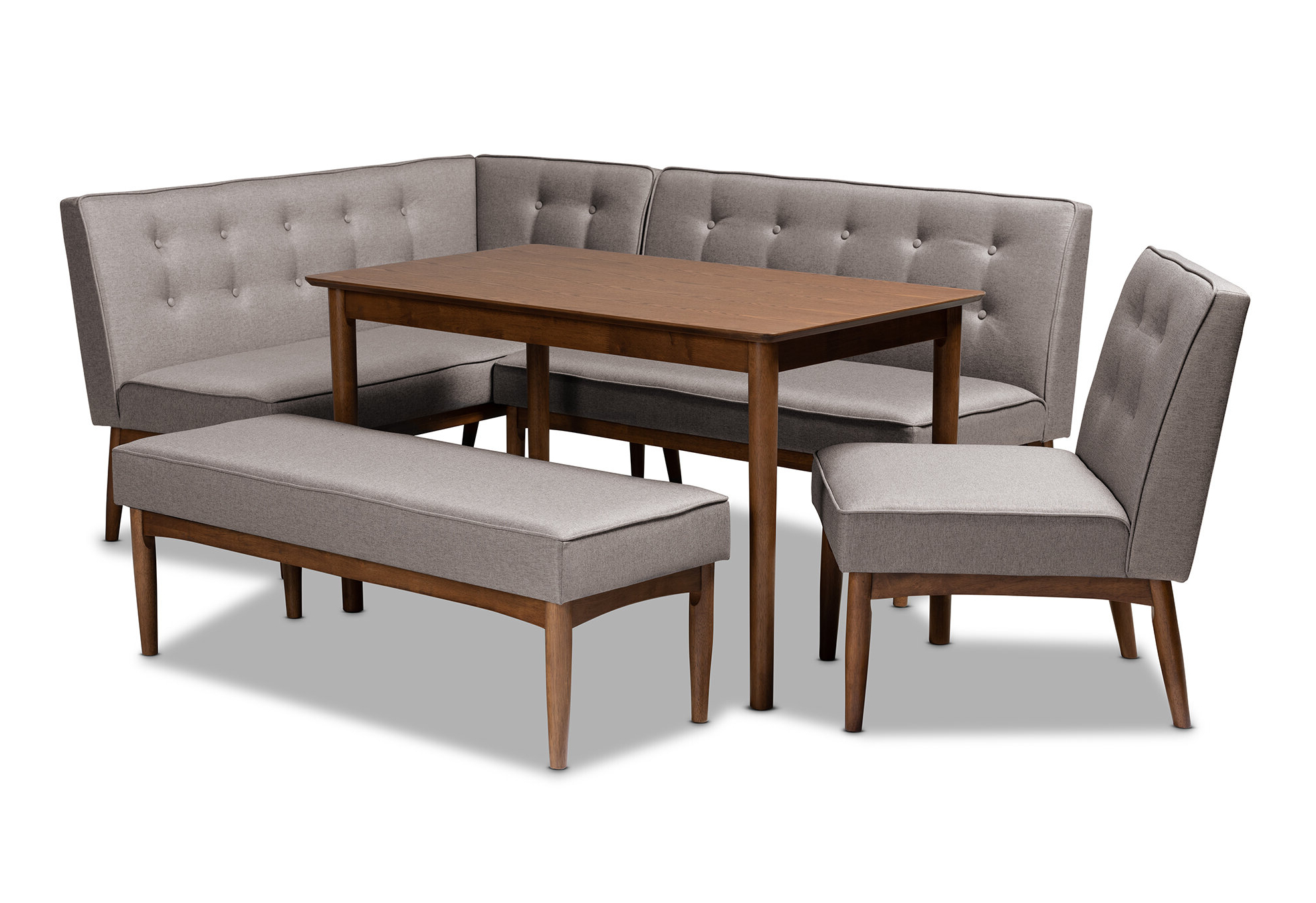 Widely Used Liles 5 Piece Breakfast Nook Dining Sets Pertaining To Bopp Mid Century Modern Upholstered 5 Piece Breakfast Nook Dining Set (View 2 of 20)