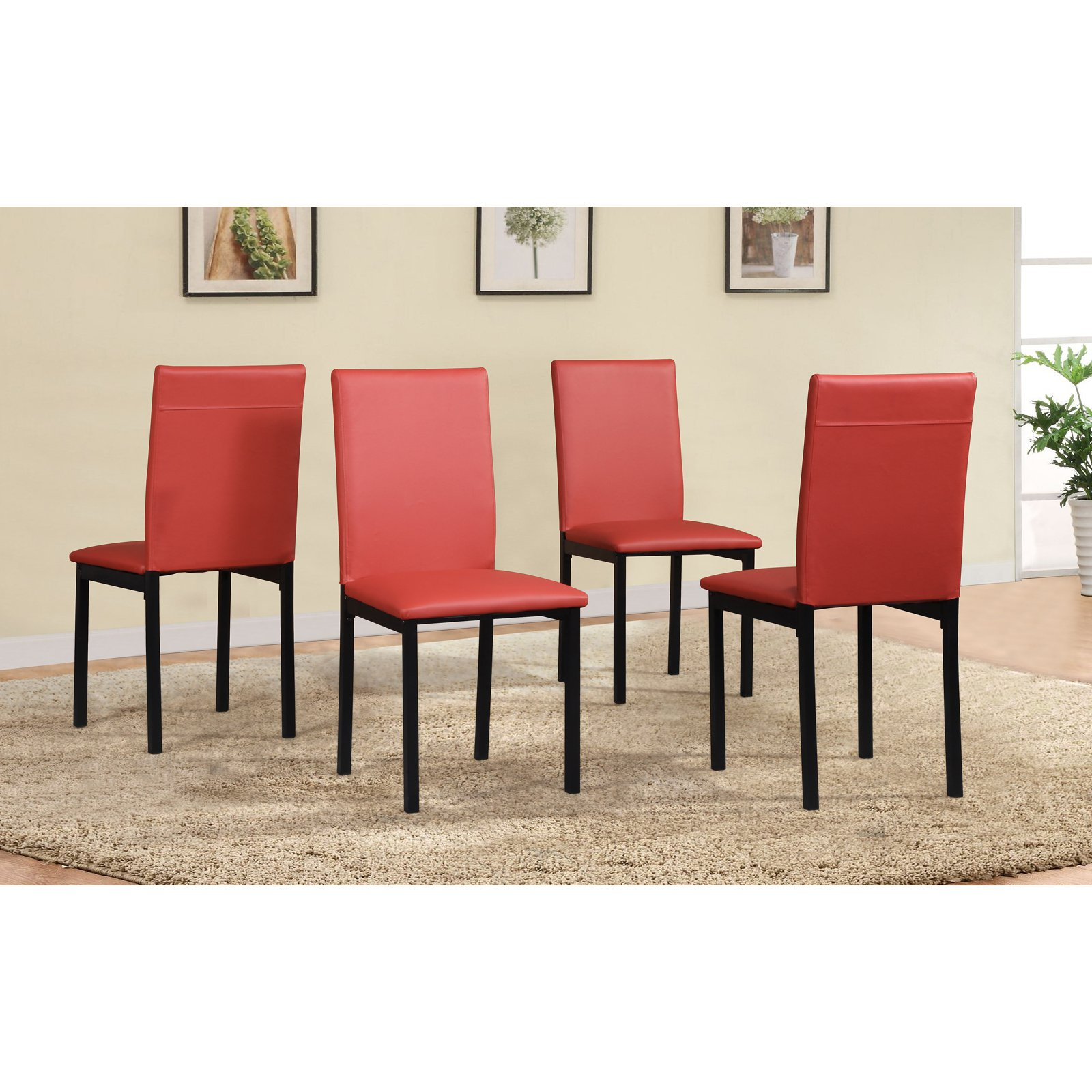 Widely Used Noyes 5 Piece Dining Sets With Regard To Roundhill Furniture Noyes Faux Leather Dining Side Chair – Set Of  (View 20 of 20)