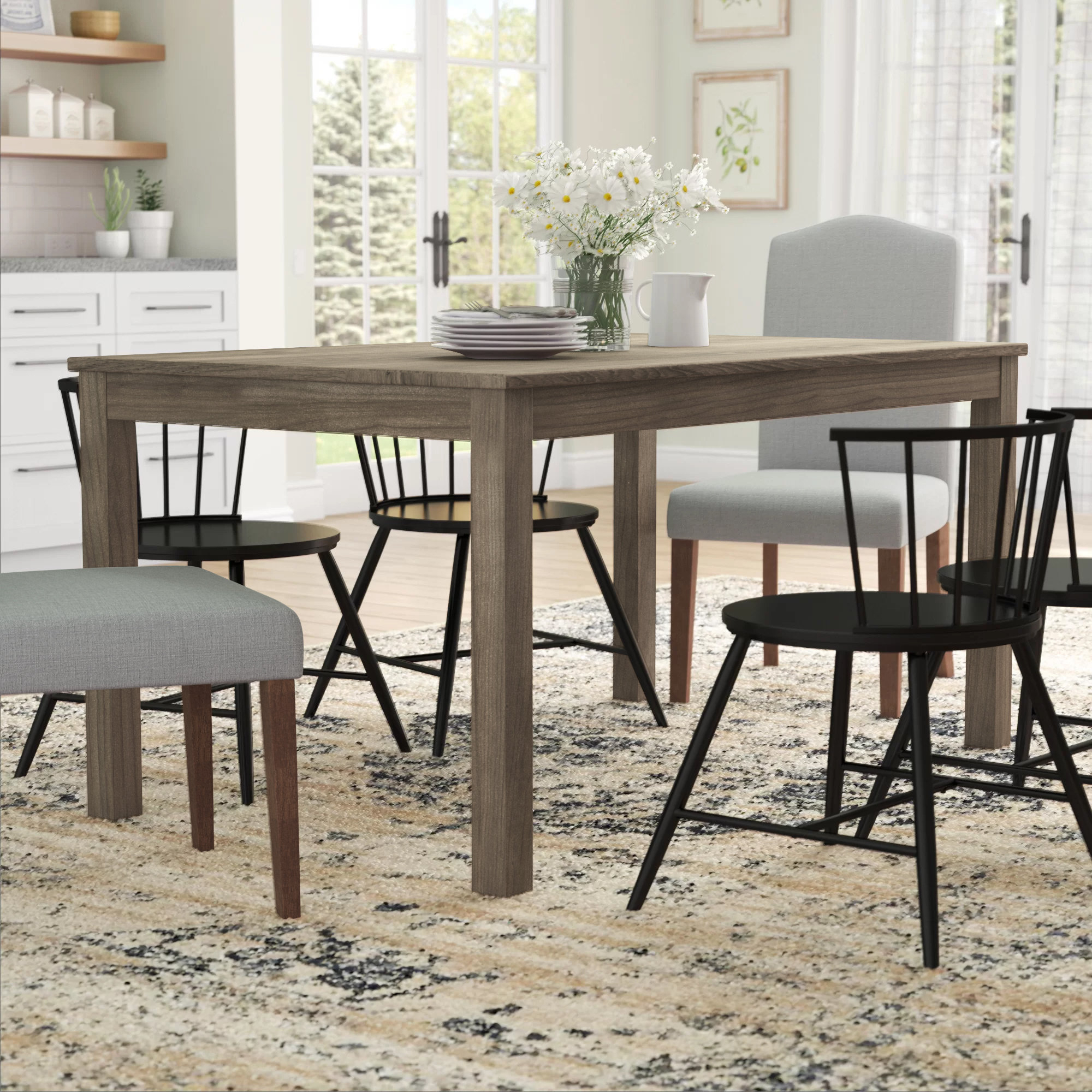 Widely Used Selina Wood Dining Table With Regard To Goodman 5 Piece Solid Wood Dining Sets (Set Of 5) (View 20 of 20)