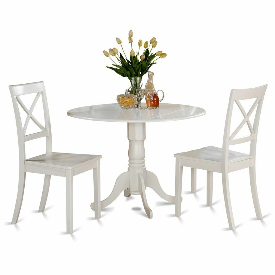 Widely Used West Hill Family Table 3 Piece Dining Sets For East West Furniture Dlbo3 Whi W 3 Piece Kitchen Table Set Linen White Finish (View 4 of 20)