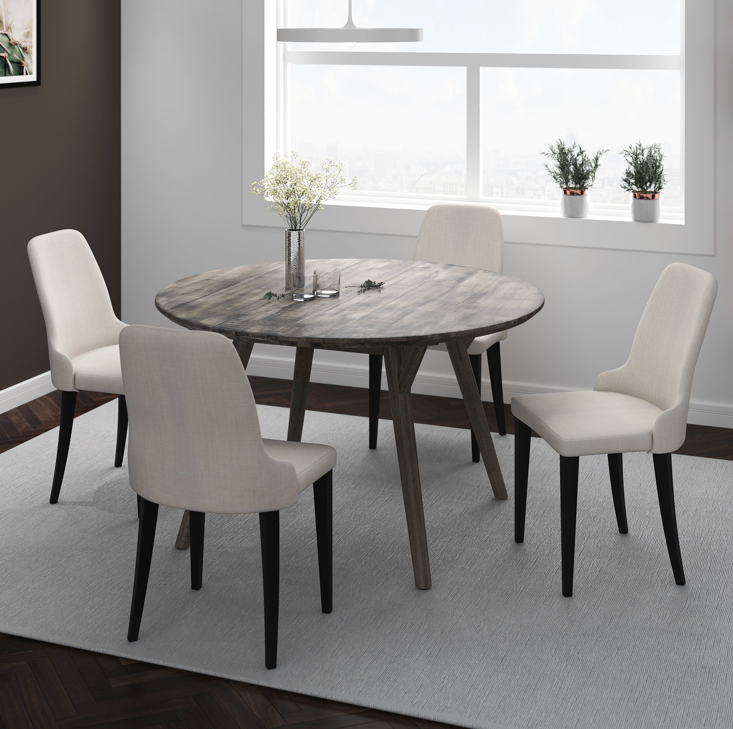 Wiggs 5 Piece Dining Sets With Regard To Most Recently Released Raiford 5 Piece Solid Wood Dining Set (View 12 of 20)