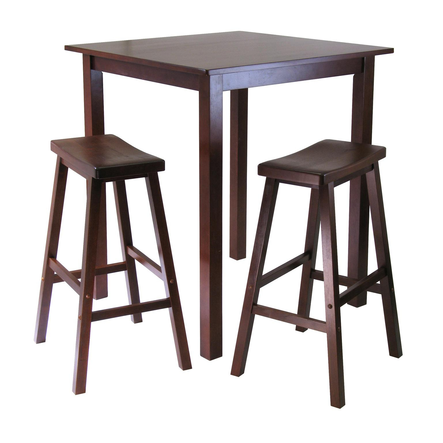 Winsome 3 Piece Counter Height Dining Sets With 2017 Winsome's Parkland 3 Piece Square High/pub Table Set In Antique Walnut Finish (View 10 of 20)