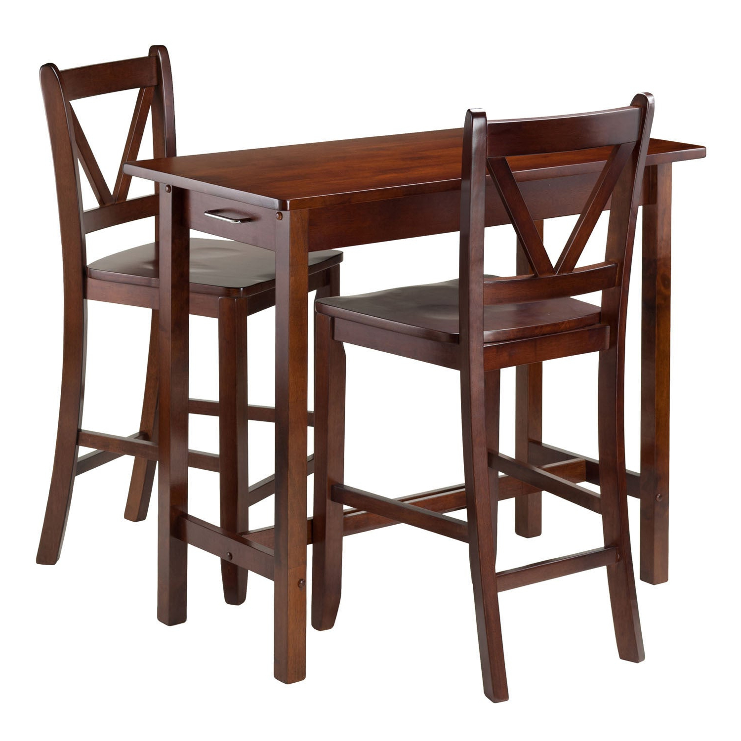 Winsome 3 Piece Counter Height Dining Sets With Regard To 2017 Winsome 3 Piece Island Kitchen Table With 2 V Back Counter Stools (View 12 of 20)