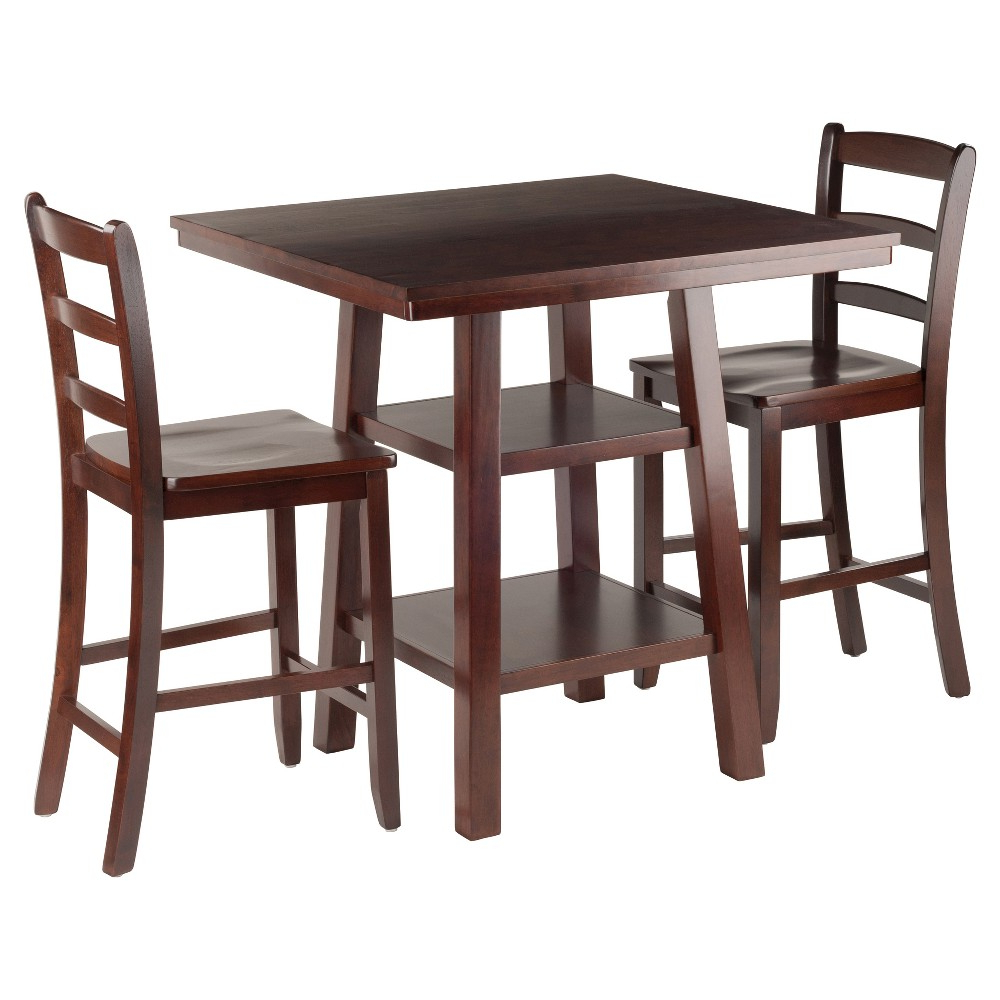 Winsome 3 Piece Counter Height Dining Sets Within Best And Newest 3 Piece Orlando Set 2 Shelves High Table With Ladder Back Counter (View 14 of 20)