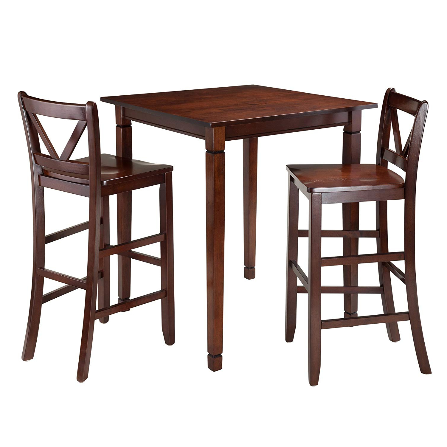 Winsome 3 Piece Kingsgate Dining Table With 2 Bar V Back Chairs, Brown Intended For Well Known Winsome 3 Piece Counter Height Dining Sets (View 15 of 20)