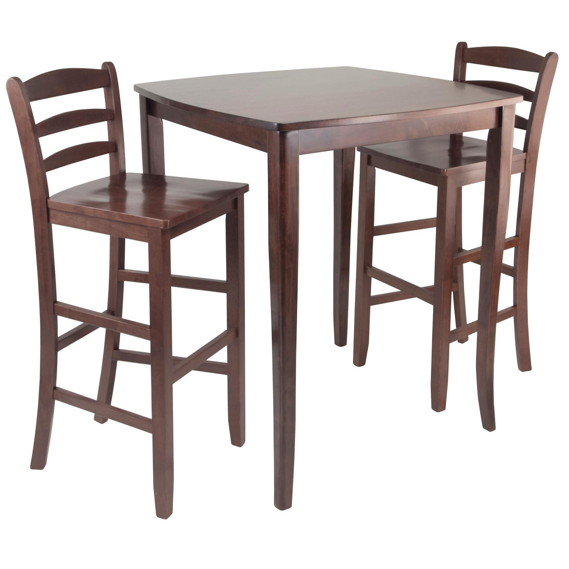 Winsome Inglewood High/pub Dining Table With Ladder Back Stool, 3 Piece In Well Known Winsome 3 Piece Counter Height Dining Sets (View 4 of 20)